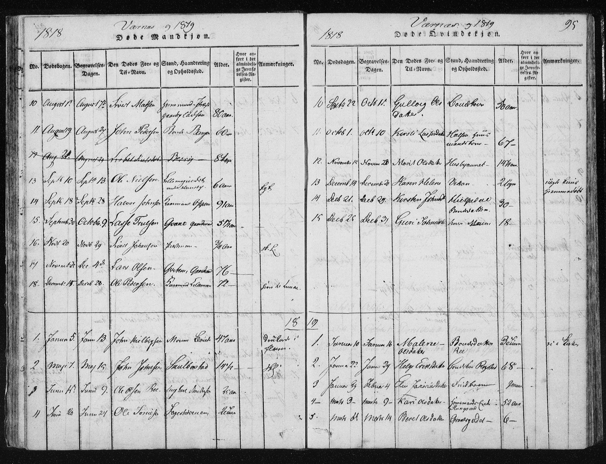 SAT, Ministerialprotokoller, klokkerbøker og fødselsregistre - Nord-Trøndelag, 709/L0061: Ministerialbok nr. 709A08 /1, 1815-1819, s. 95