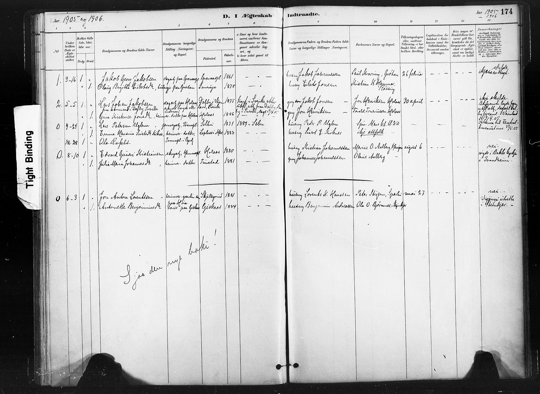 SAT, Ministerialprotokoller, klokkerbøker og fødselsregistre - Nord-Trøndelag, 736/L0361: Ministerialbok nr. 736A01, 1884-1906, s. 174