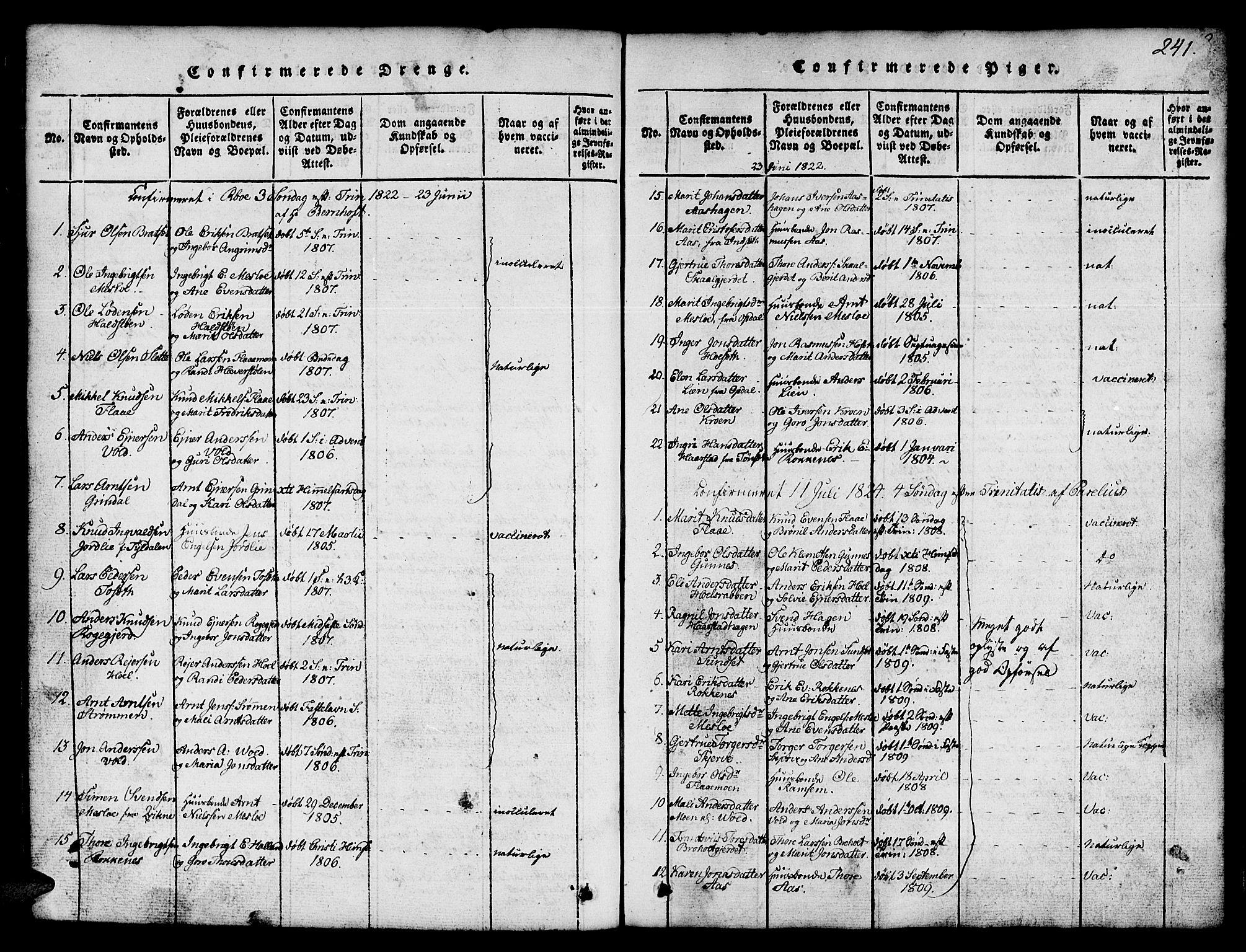 SAT, Ministerialprotokoller, klokkerbøker og fødselsregistre - Sør-Trøndelag, 674/L0874: Klokkerbok nr. 674C01, 1816-1860, s. 241