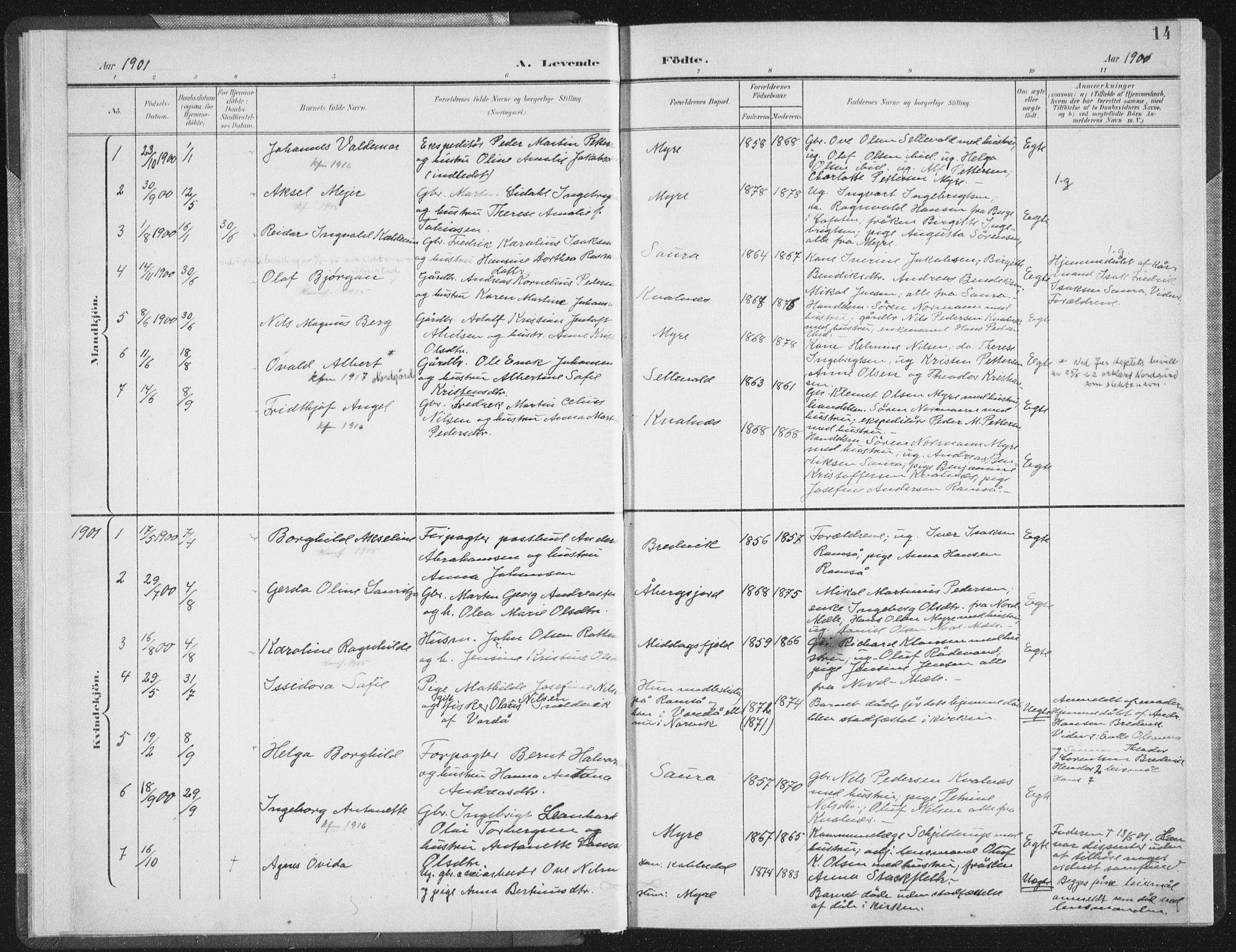 SAT, Ministerialprotokoller, klokkerbøker og fødselsregistre - Nordland, 897/L1400: Ministerialbok nr. 897A07, 1897-1908, s. 14