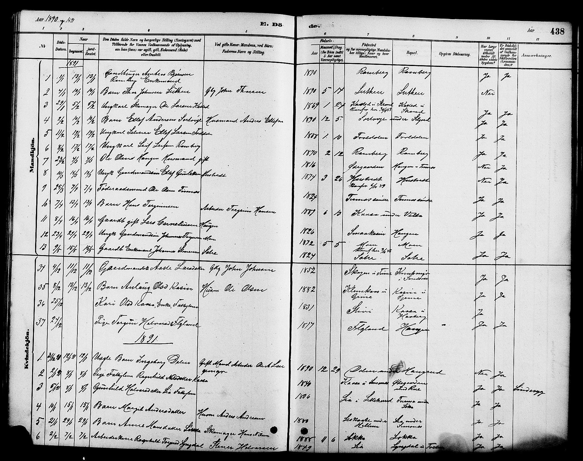 SAKO, Heddal kirkebøker, G/Ga/L0002: Klokkerbok nr. I 2, 1879-1908, s. 438