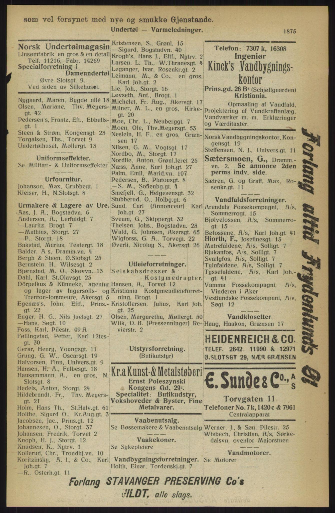 RA, Kristiania adressebok (publikasjon)*, 1914, s. 1875