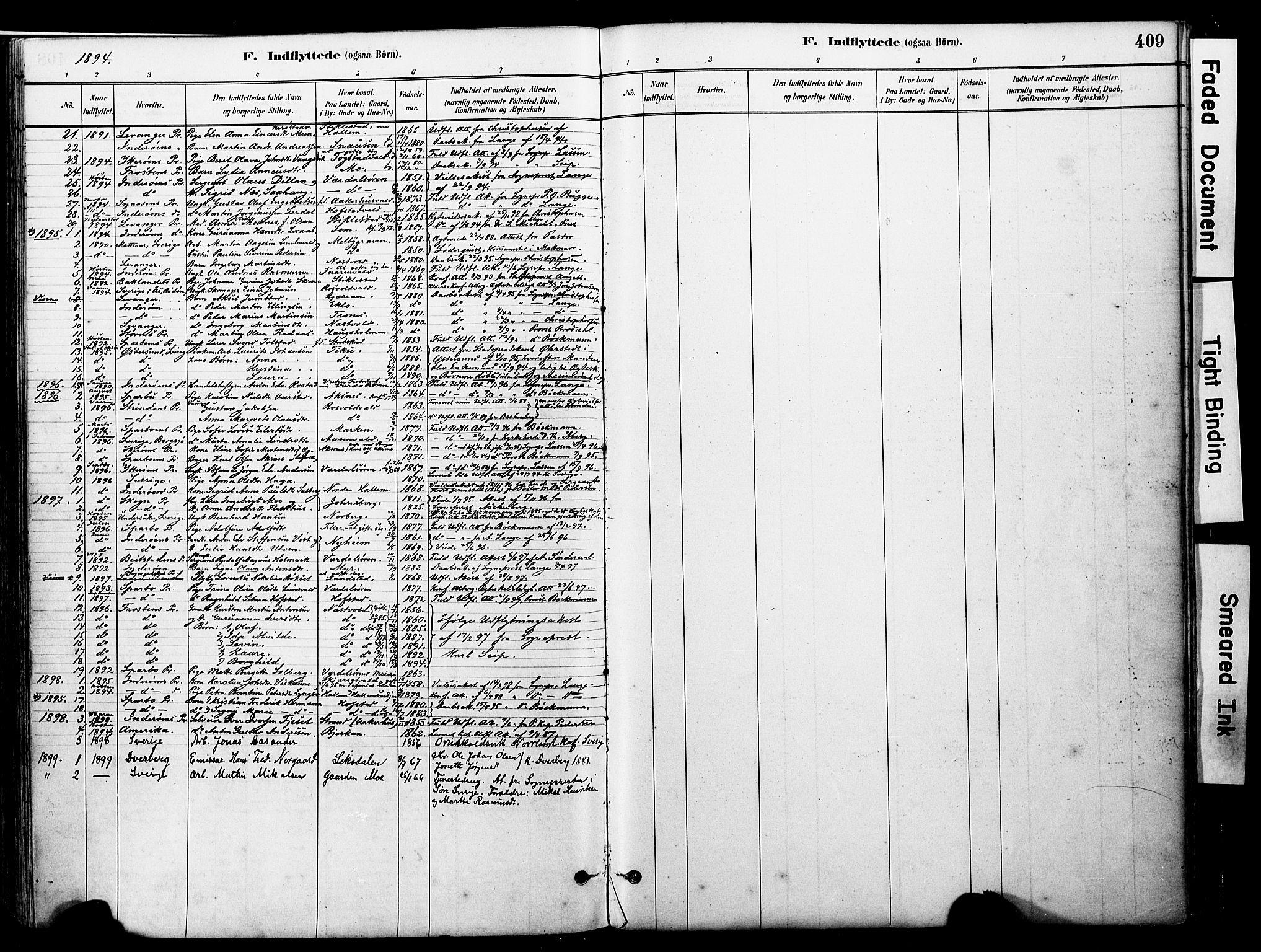 SAT, Ministerialprotokoller, klokkerbøker og fødselsregistre - Nord-Trøndelag, 723/L0244: Ministerialbok nr. 723A13, 1881-1899, s. 409
