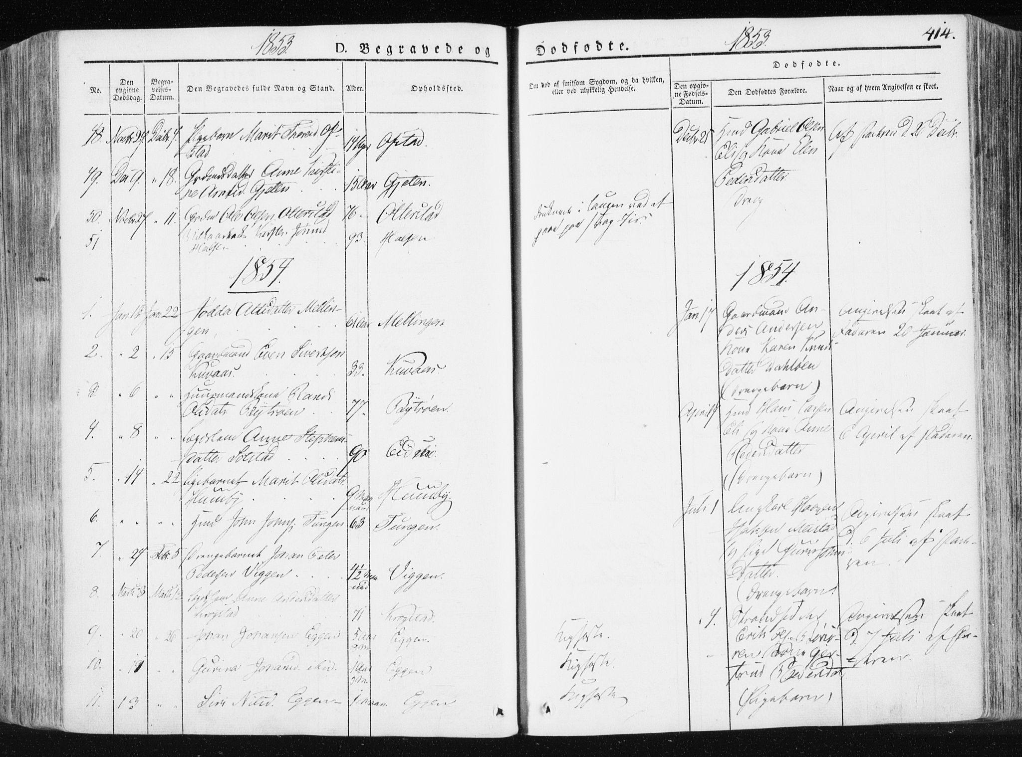 SAT, Ministerialprotokoller, klokkerbøker og fødselsregistre - Sør-Trøndelag, 665/L0771: Ministerialbok nr. 665A06, 1830-1856, s. 414