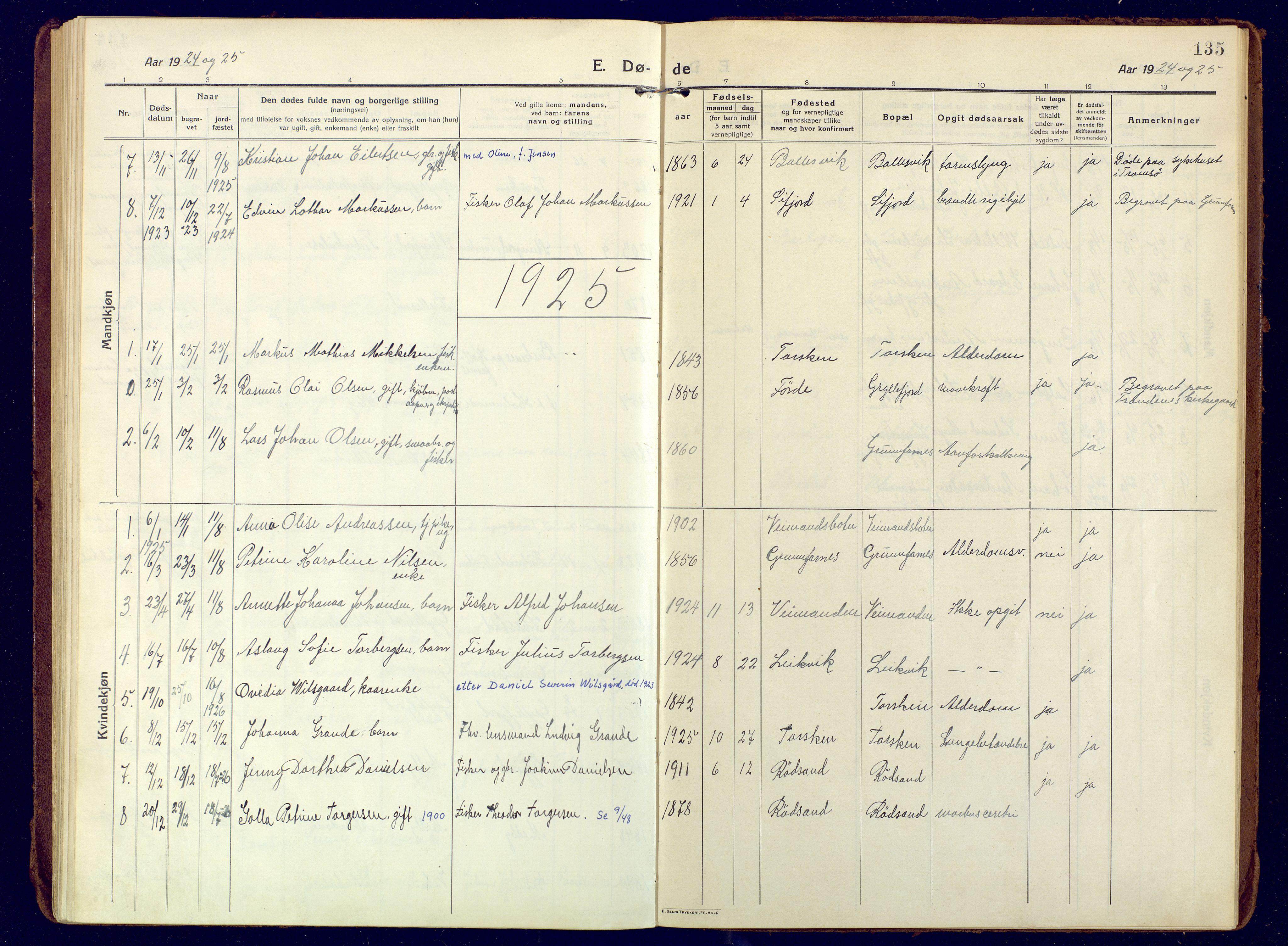 SATØ, Mefjord/Berg sokneprestkontor, G/Ga/Gaa: Ministerialbok nr. 10, 1916-1928, s. 135