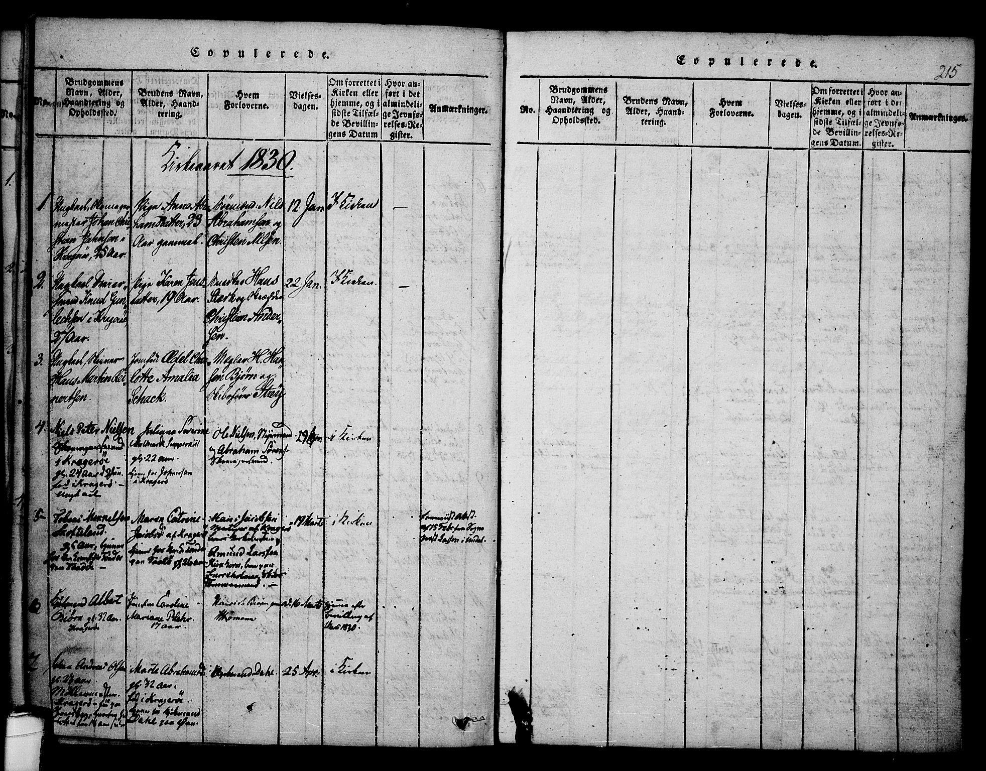 SAKO, Kragerø kirkebøker, F/Fa/L0004: Ministerialbok nr. 4, 1814-1831, s. 215