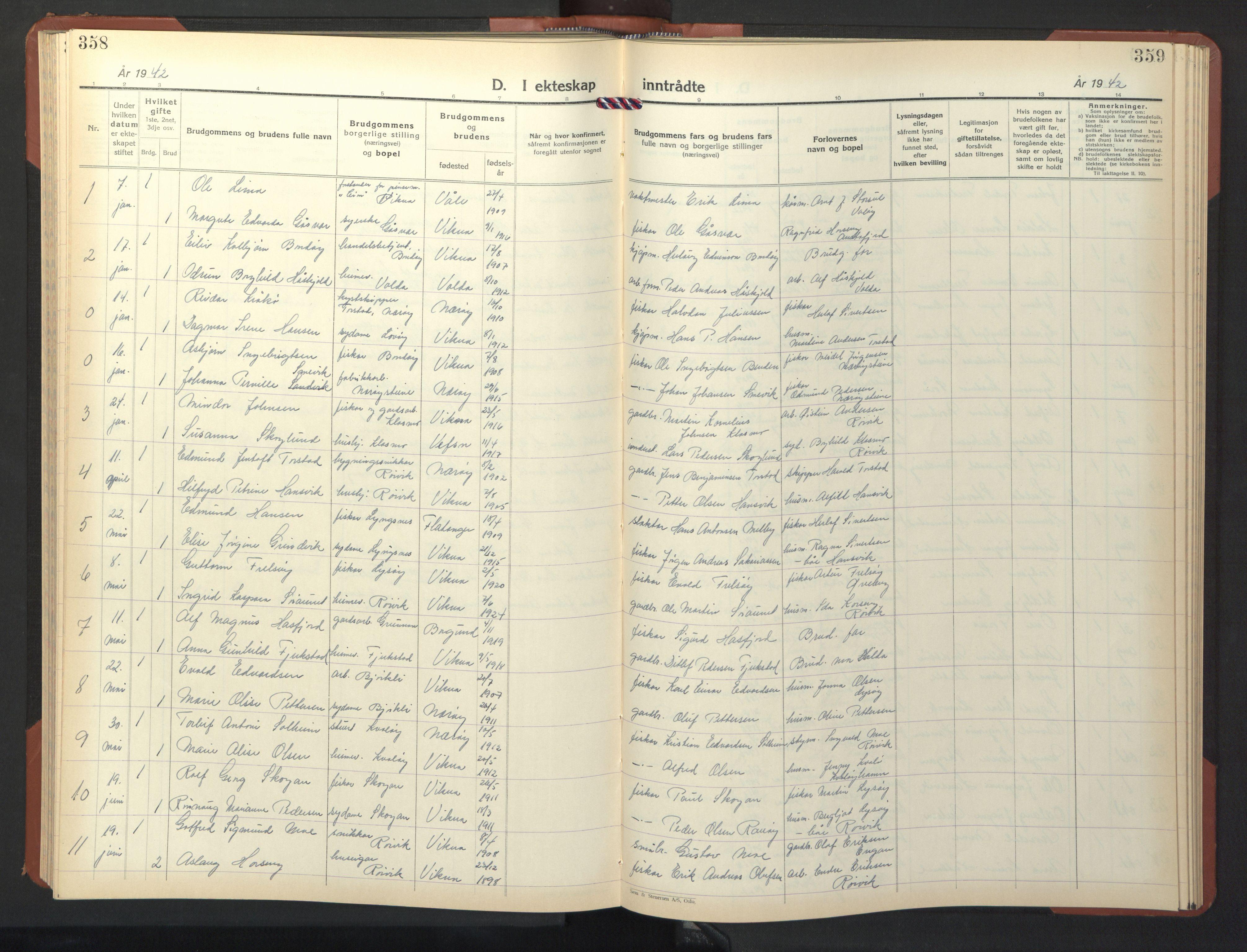 SAT, Ministerialprotokoller, klokkerbøker og fødselsregistre - Nord-Trøndelag, 786/L0689: Klokkerbok nr. 786C01, 1940-1948, s. 358-359