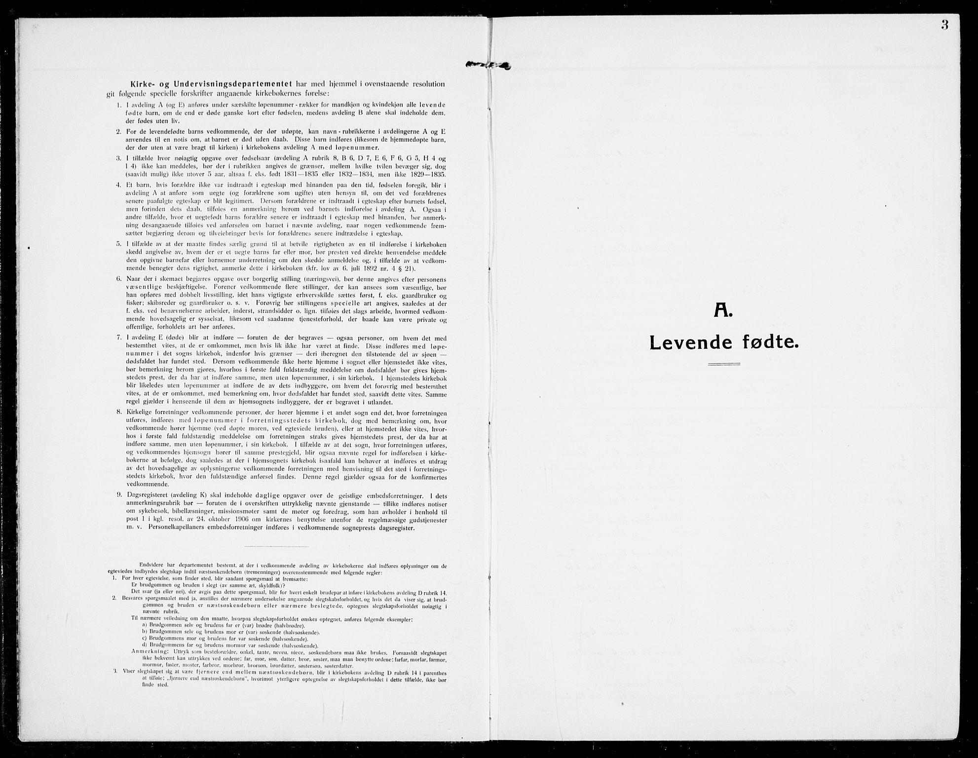 SAKO, Modum kirkebøker, G/Ga/L0009: Klokkerbok nr. I 9, 1909-1923, s. 3