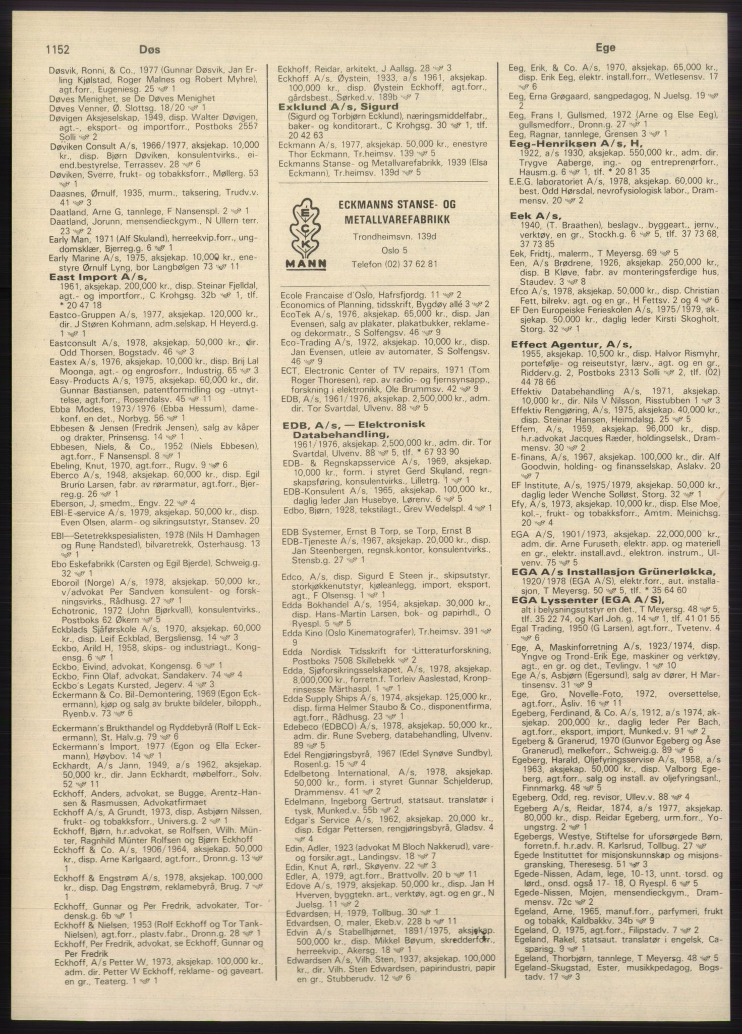 PUBL, Kristiania/Oslo adressebok, 1980-1981, s. 1152