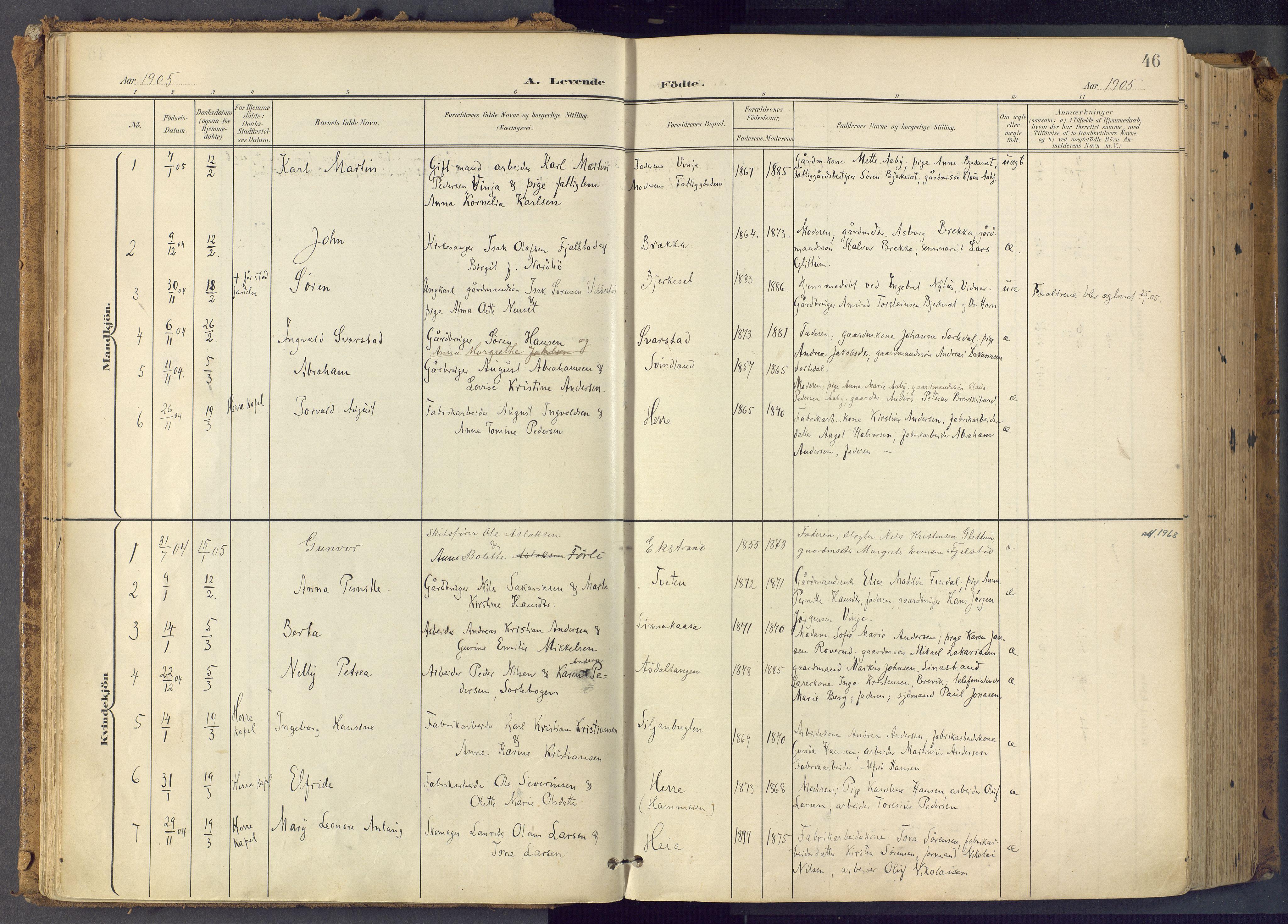 SAKO, Bamble kirkebøker, F/Fa/L0009: Ministerialbok nr. I 9, 1901-1917, s. 46