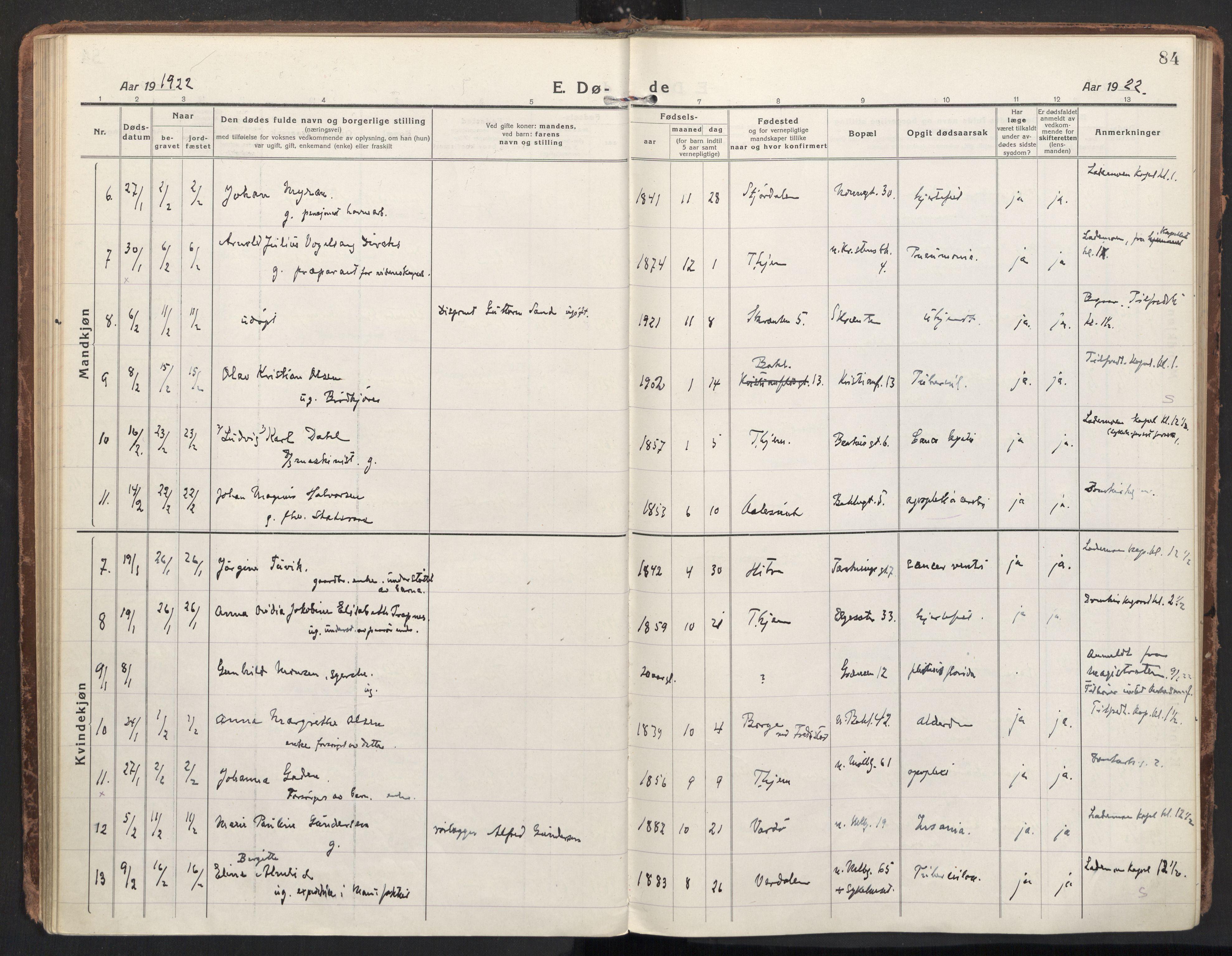 SAT, Ministerialprotokoller, klokkerbøker og fødselsregistre - Sør-Trøndelag, 604/L0207: Ministerialbok nr. 604A27, 1917-1933, s. 84