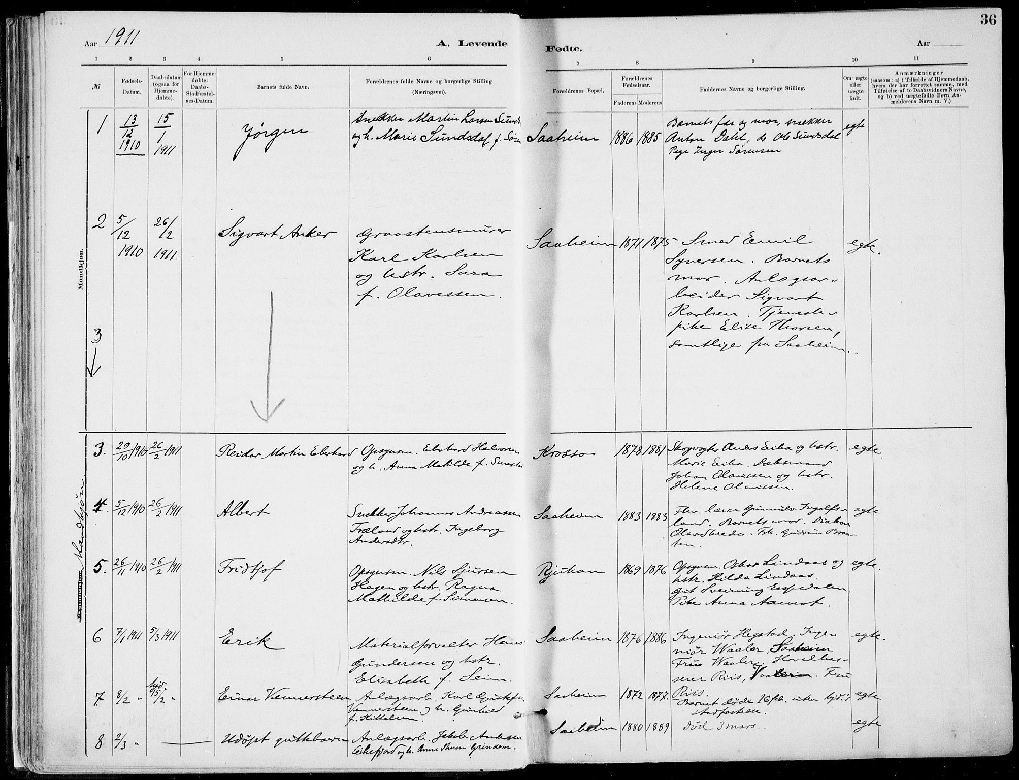 SAKO, Rjukan kirkebøker, F/Fa/L0001: Ministerialbok nr. 1, 1878-1912, s. 36