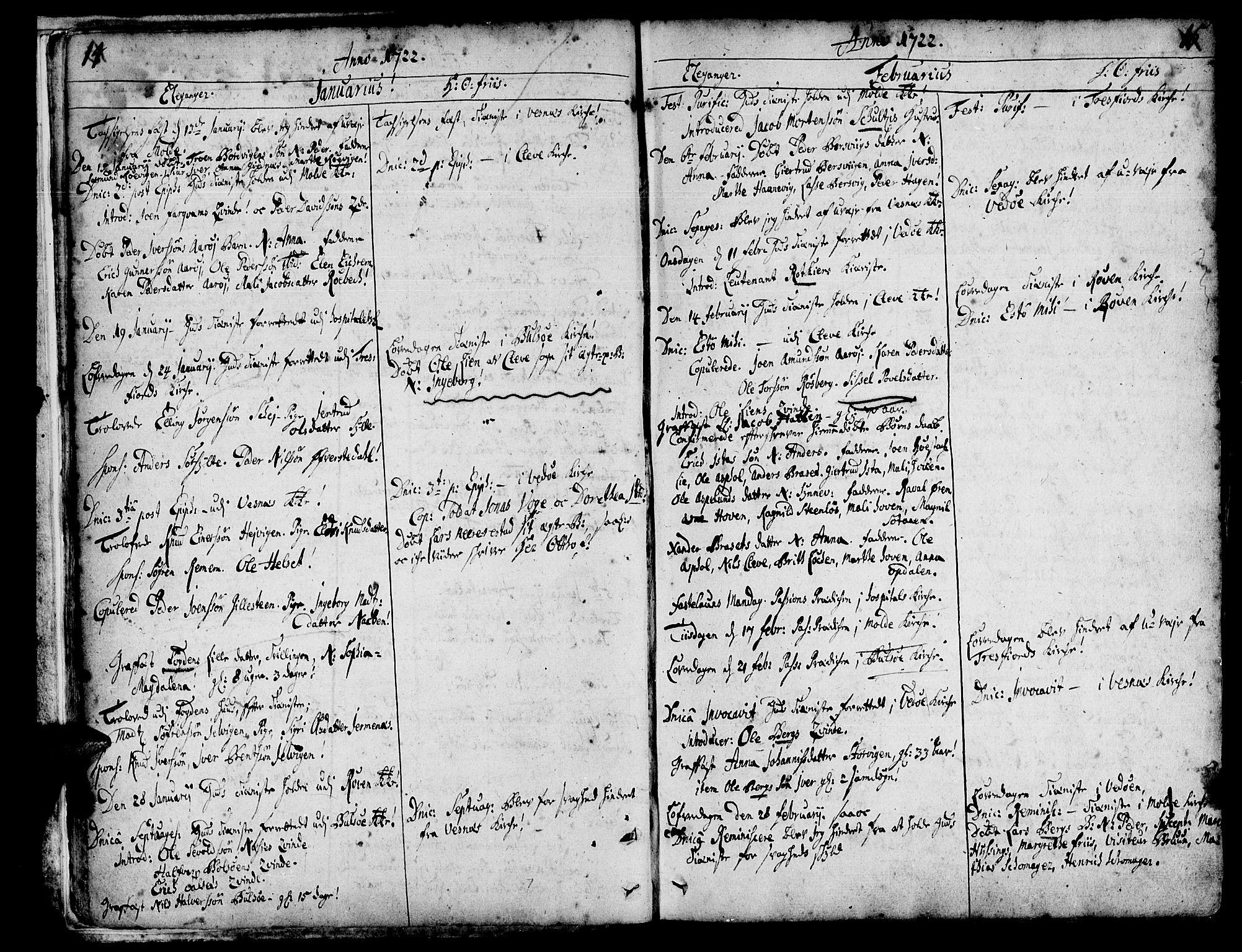 SAT, Ministerialprotokoller, klokkerbøker og fødselsregistre - Møre og Romsdal, 547/L0599: Ministerialbok nr. 547A01, 1721-1764, s. 14-15