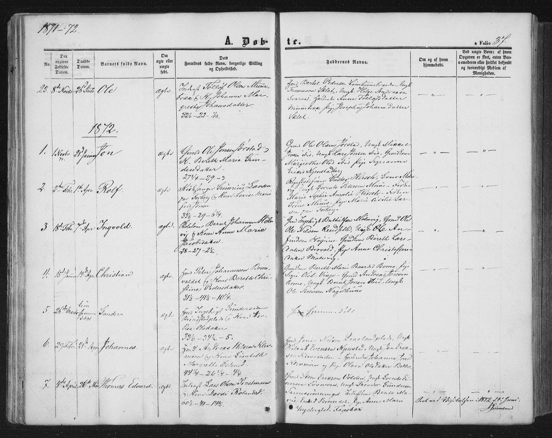 SAT, Ministerialprotokoller, klokkerbøker og fødselsregistre - Nord-Trøndelag, 749/L0472: Ministerialbok nr. 749A06, 1857-1873, s. 37