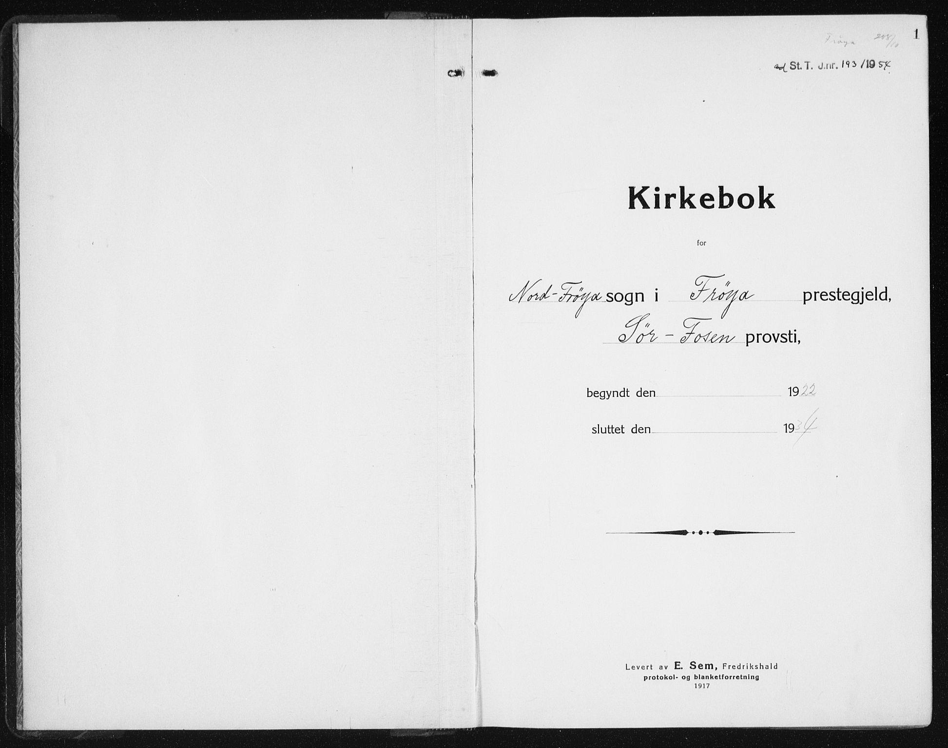 SAT, Ministerialprotokoller, klokkerbøker og fødselsregistre - Sør-Trøndelag, 640/L0589: Klokkerbok nr. 640C06, 1922-1934, s. 1