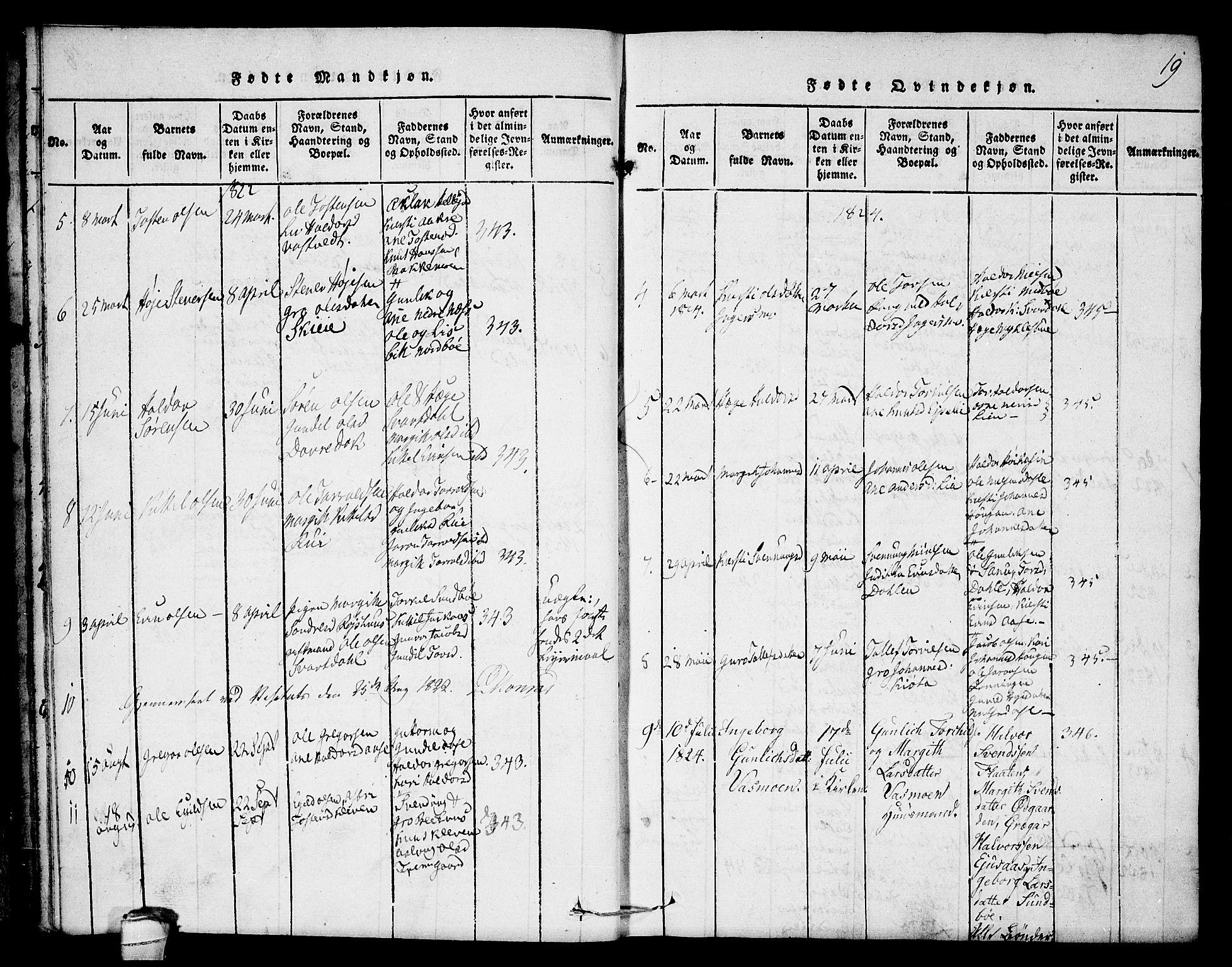 SAKO, Seljord kirkebøker, F/Fb/L0001: Ministerialbok nr. II 1, 1815-1831, s. 19