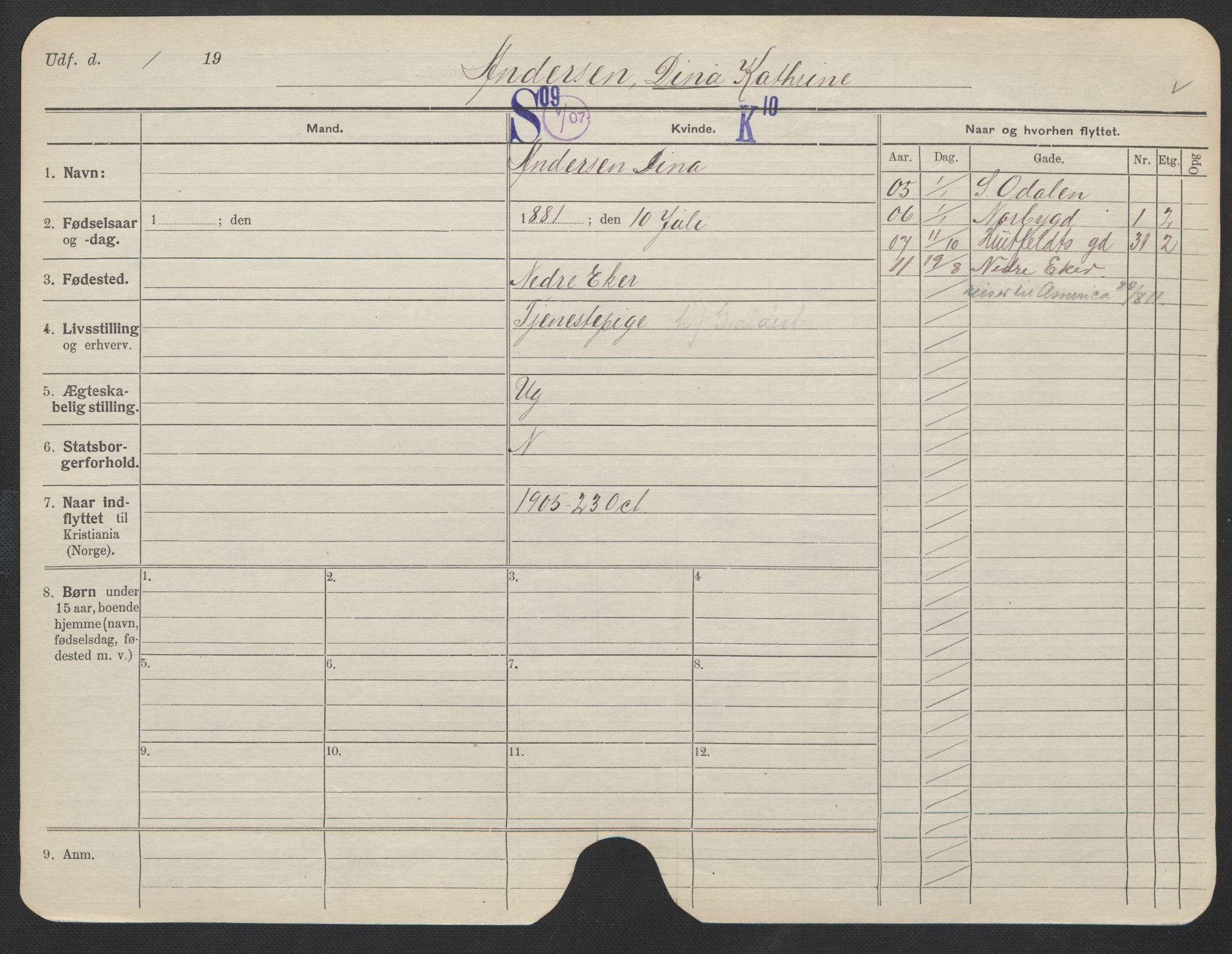 SAO, Oslo folkeregister, Registerkort, F/Fa/Fac/L0012: Kvinner, 1906-1914, s. 351a