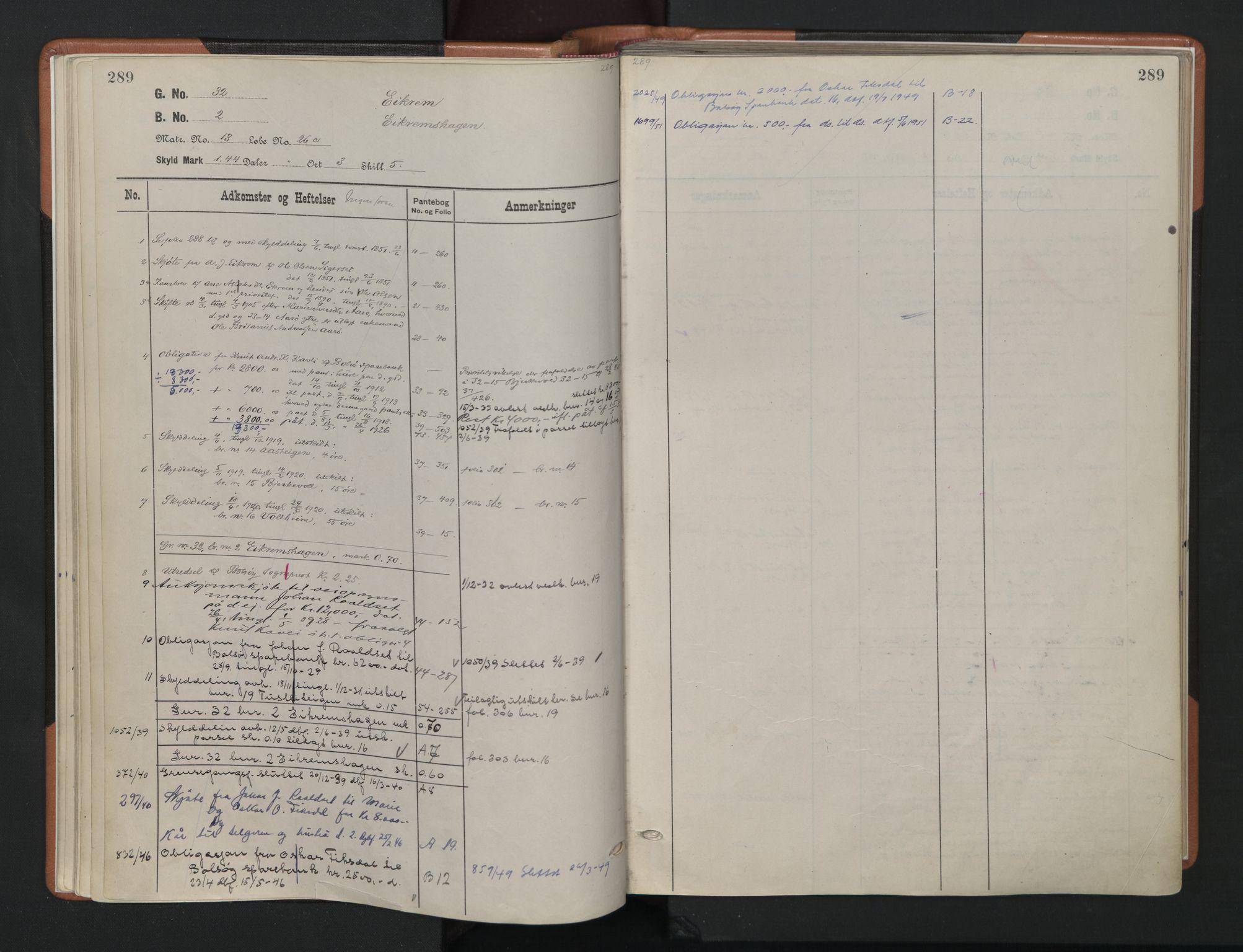 SAT, Romsdal sorenskriveri, 2/2Aa/L0024: Panteregister nr. 24, s. 289
