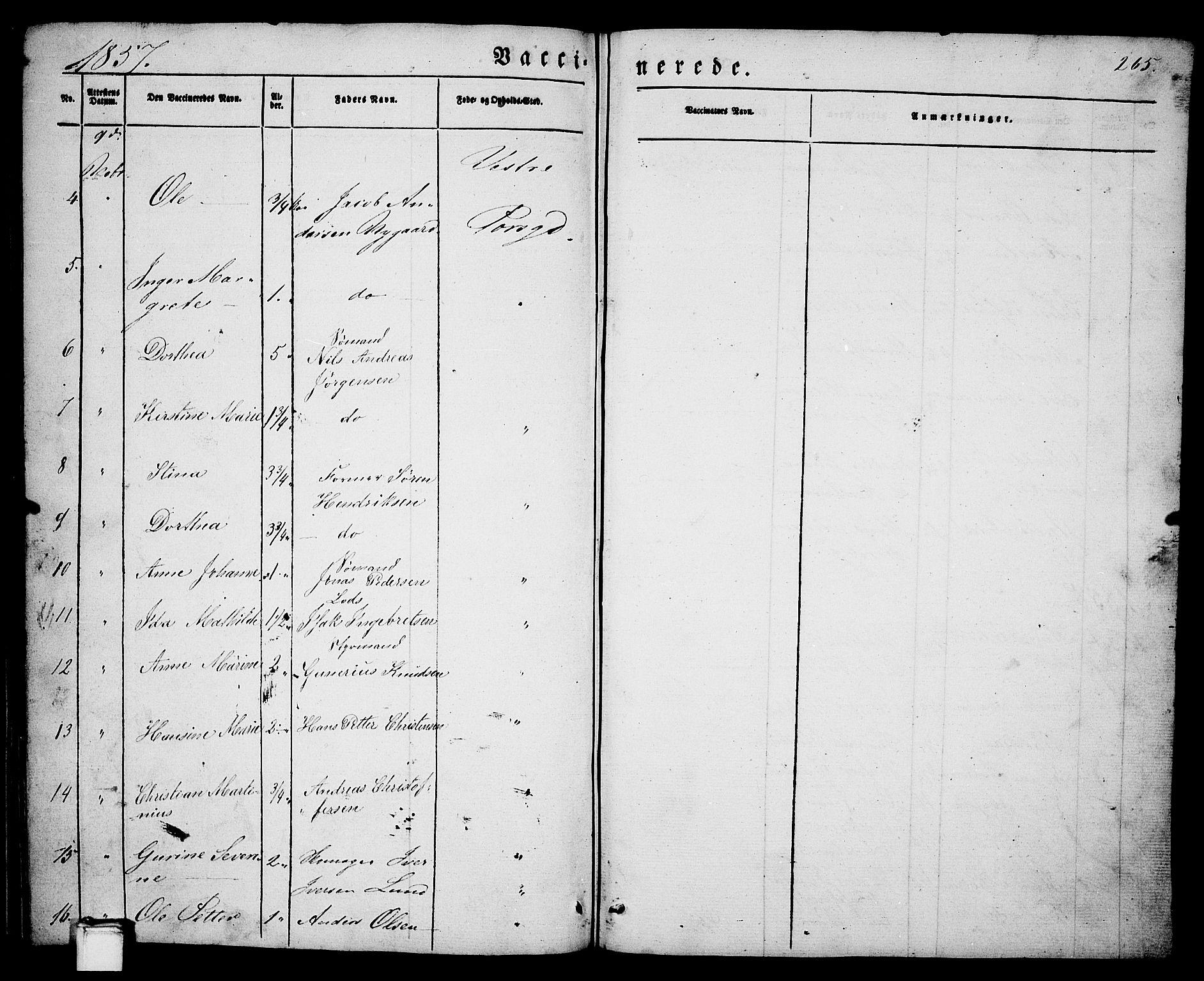 SAKO, Porsgrunn kirkebøker , G/Ga/L0002: Klokkerbok nr. I 2, 1847-1877, s. 265