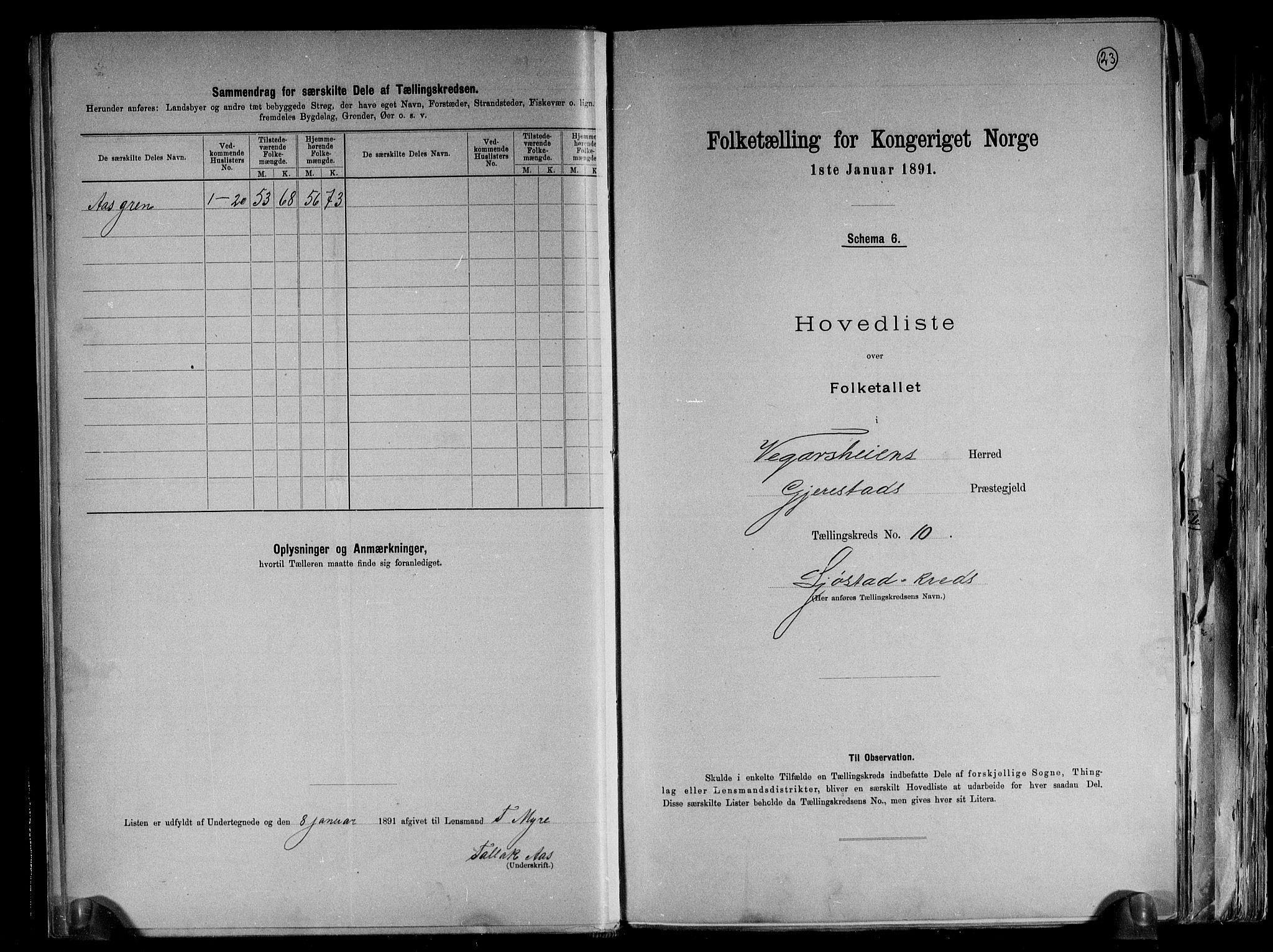 RA, Folketelling 1891 for 0912 Vegårshei herred, 1891, s. 23
