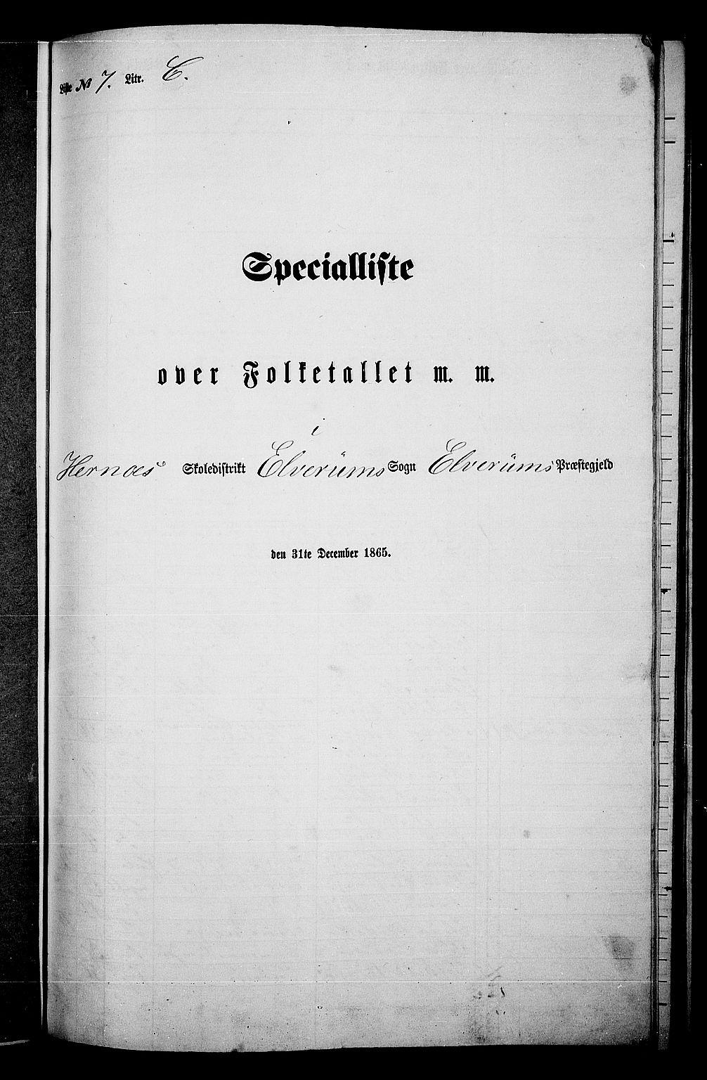 RA, Folketelling 1865 for 0427P Elverum prestegjeld, 1865, s. 178