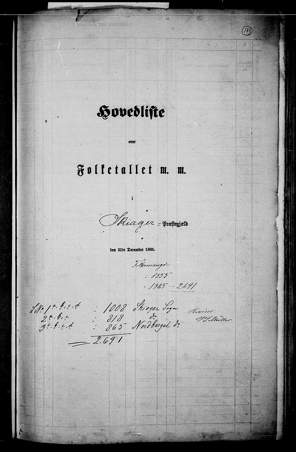 RA, Folketelling 1865 for 0513P Skjåk prestegjeld, 1865, s. 1