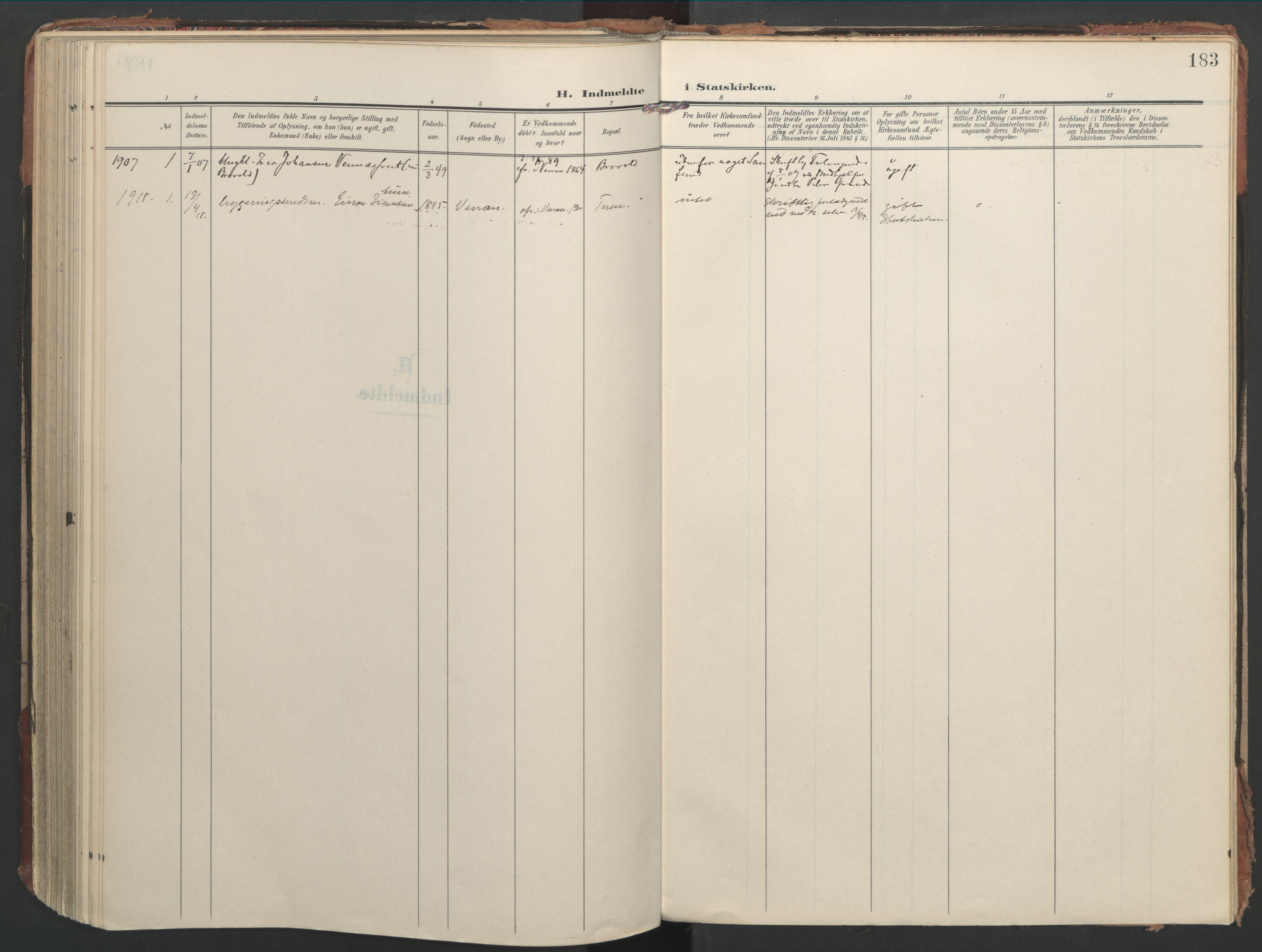 SAT, Ministerialprotokoller, klokkerbøker og fødselsregistre - Nord-Trøndelag, 744/L0421: Ministerialbok nr. 744A05, 1905-1930, s. 183