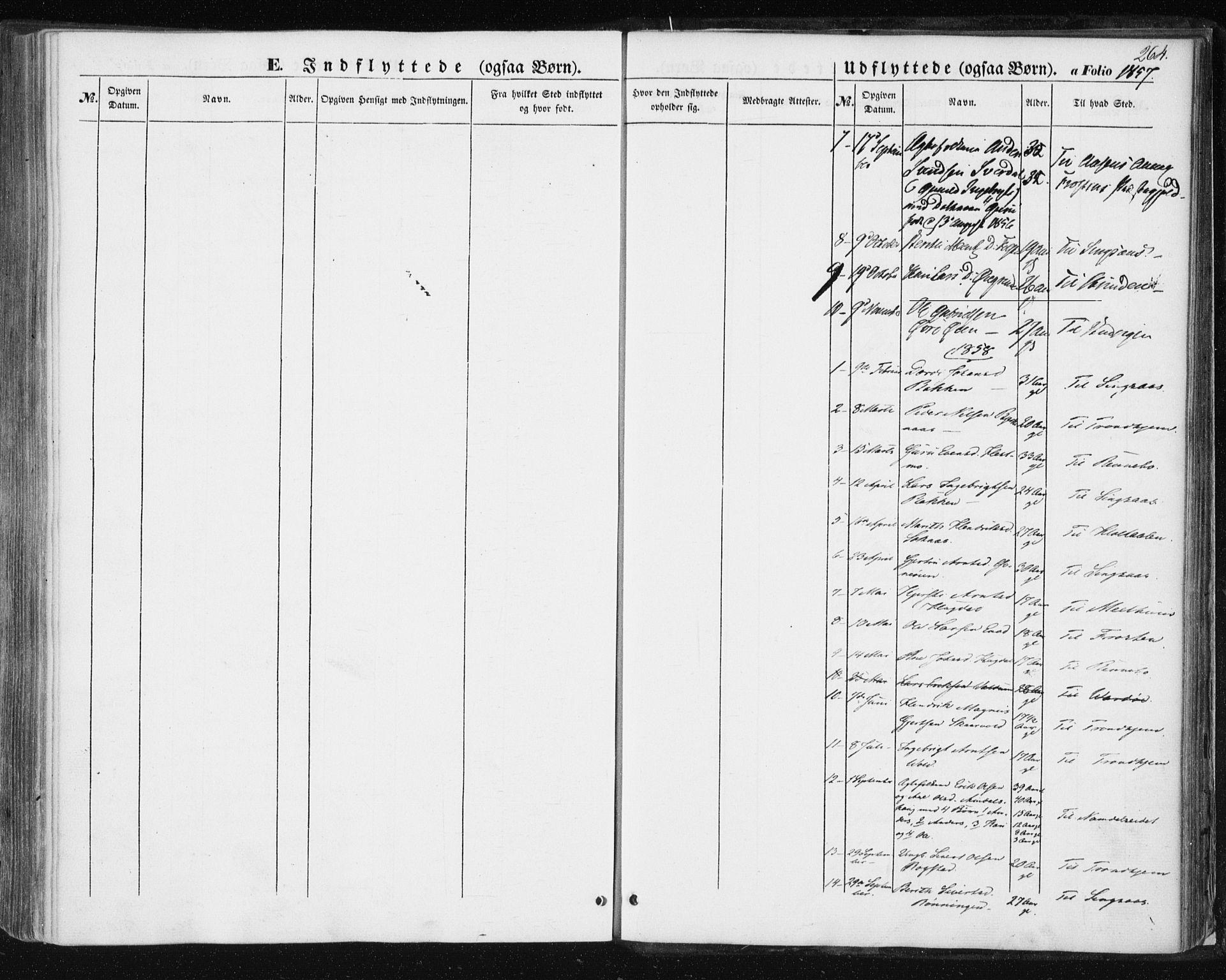 SAT, Ministerialprotokoller, klokkerbøker og fødselsregistre - Sør-Trøndelag, 687/L1000: Ministerialbok nr. 687A06, 1848-1869, s. 264