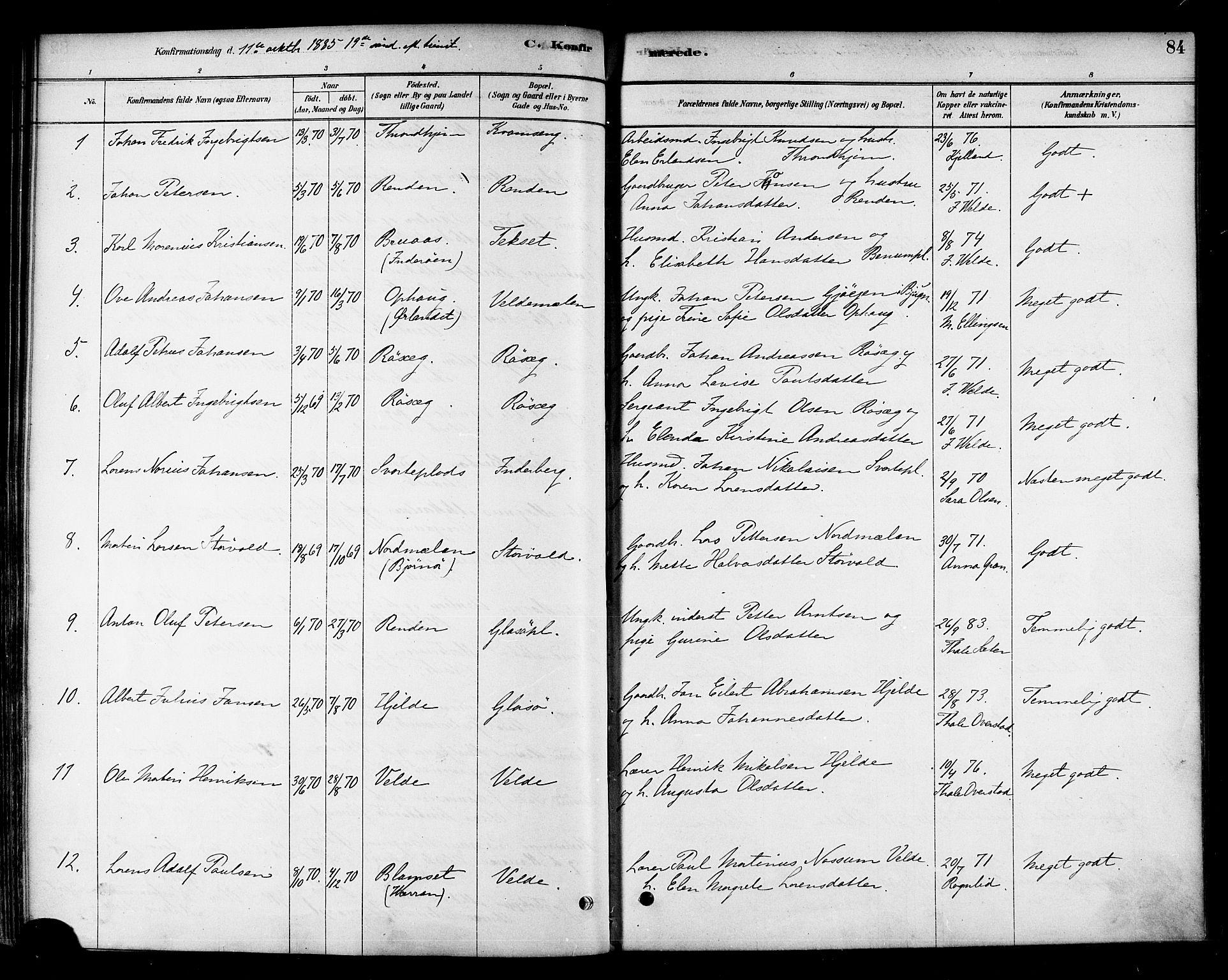 SAT, Ministerialprotokoller, klokkerbøker og fødselsregistre - Nord-Trøndelag, 741/L0395: Ministerialbok nr. 741A09, 1878-1888, s. 84