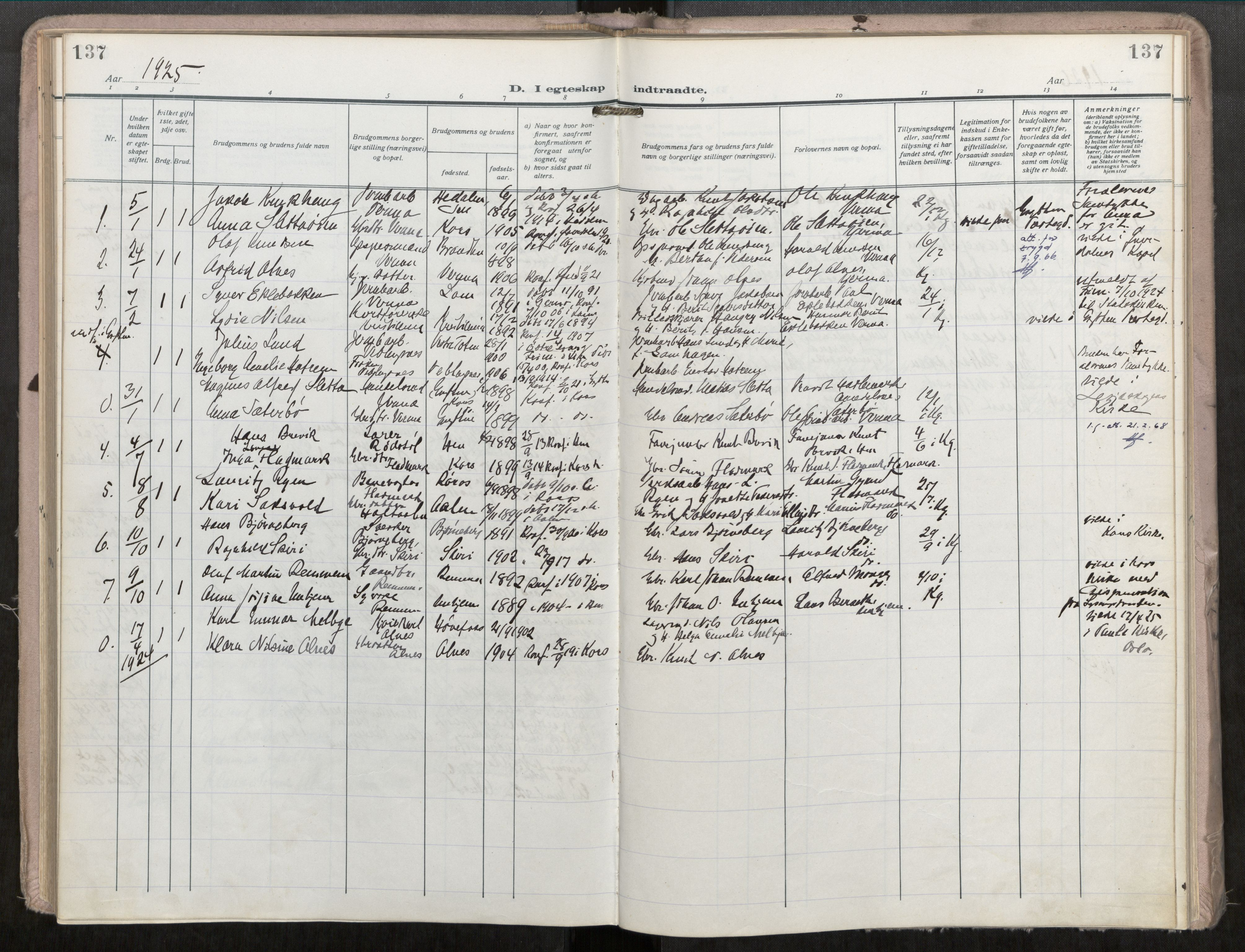 SAT, Grytten sokneprestkontor, Ministerialbok nr. 546A04, 1919-1956, s. 137