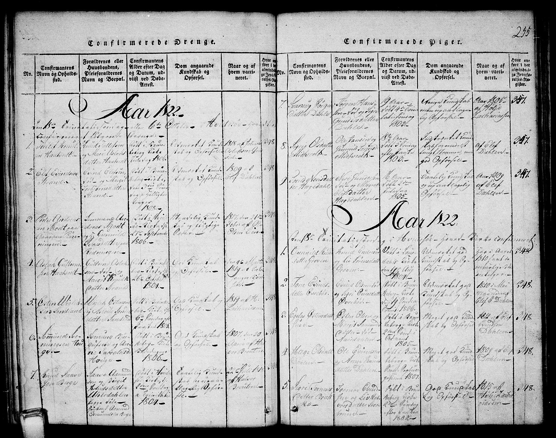 SAKO, Kviteseid kirkebøker, G/Gb/L0001: Klokkerbok nr. II 1, 1815-1842, s. 255