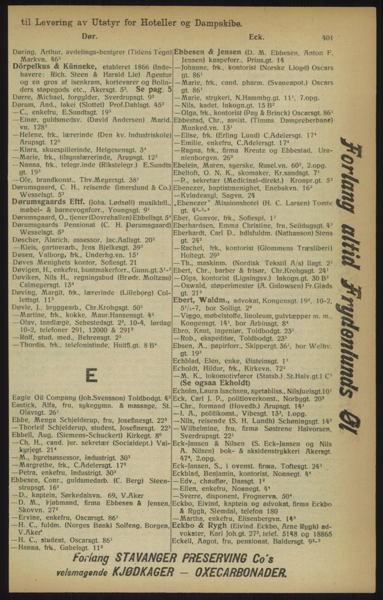 RA, Kristiania adressebok (publikasjon)*, 1915, s. 401