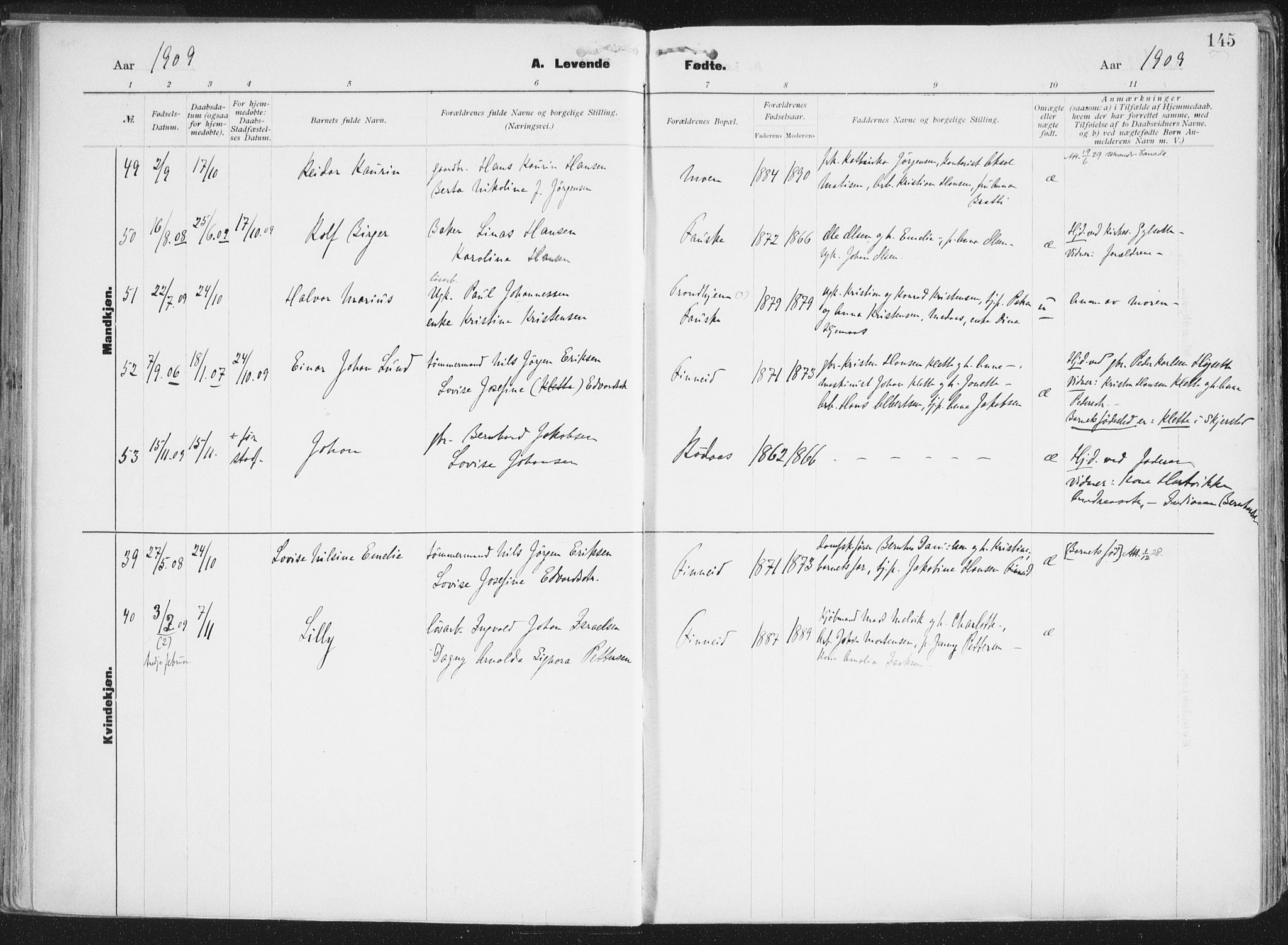 SAT, Ministerialprotokoller, klokkerbøker og fødselsregistre - Nordland, 849/L0696: Ministerialbok nr. 849A08, 1898-1910, s. 145