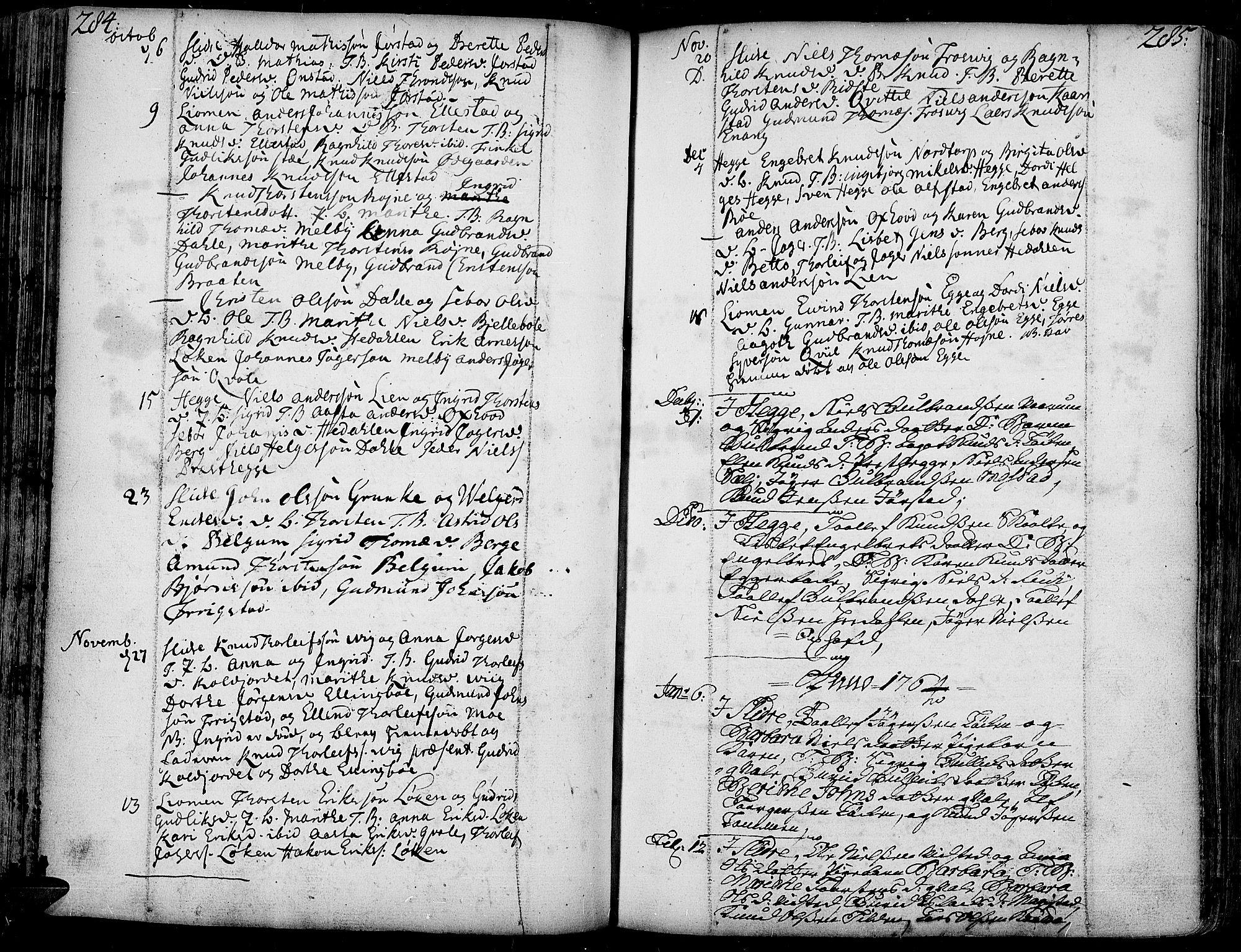 SAH, Slidre prestekontor, Ministerialbok nr. 1, 1724-1814, s. 284-285