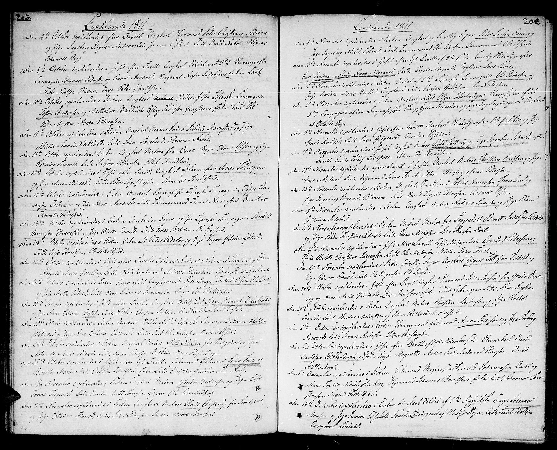 SAK, Kristiansand domprosti, F/Fa/L0005: Ministerialbok nr. A 5, 1776-1818, s. 203-204