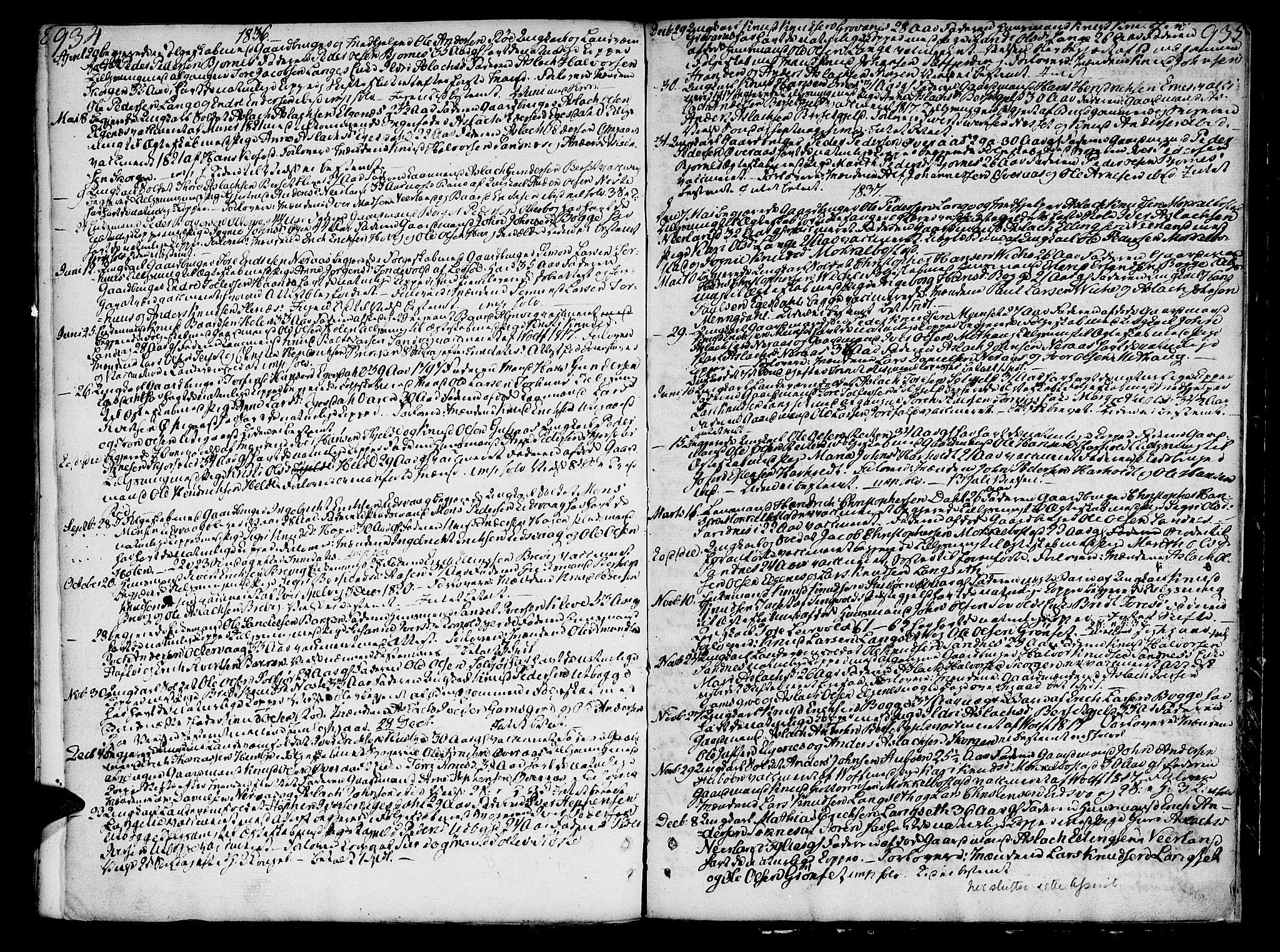 SAT, Ministerialprotokoller, klokkerbøker og fødselsregistre - Møre og Romsdal, 551/L0622: Ministerialbok nr. 551A02, 1804-1845, s. 934-935