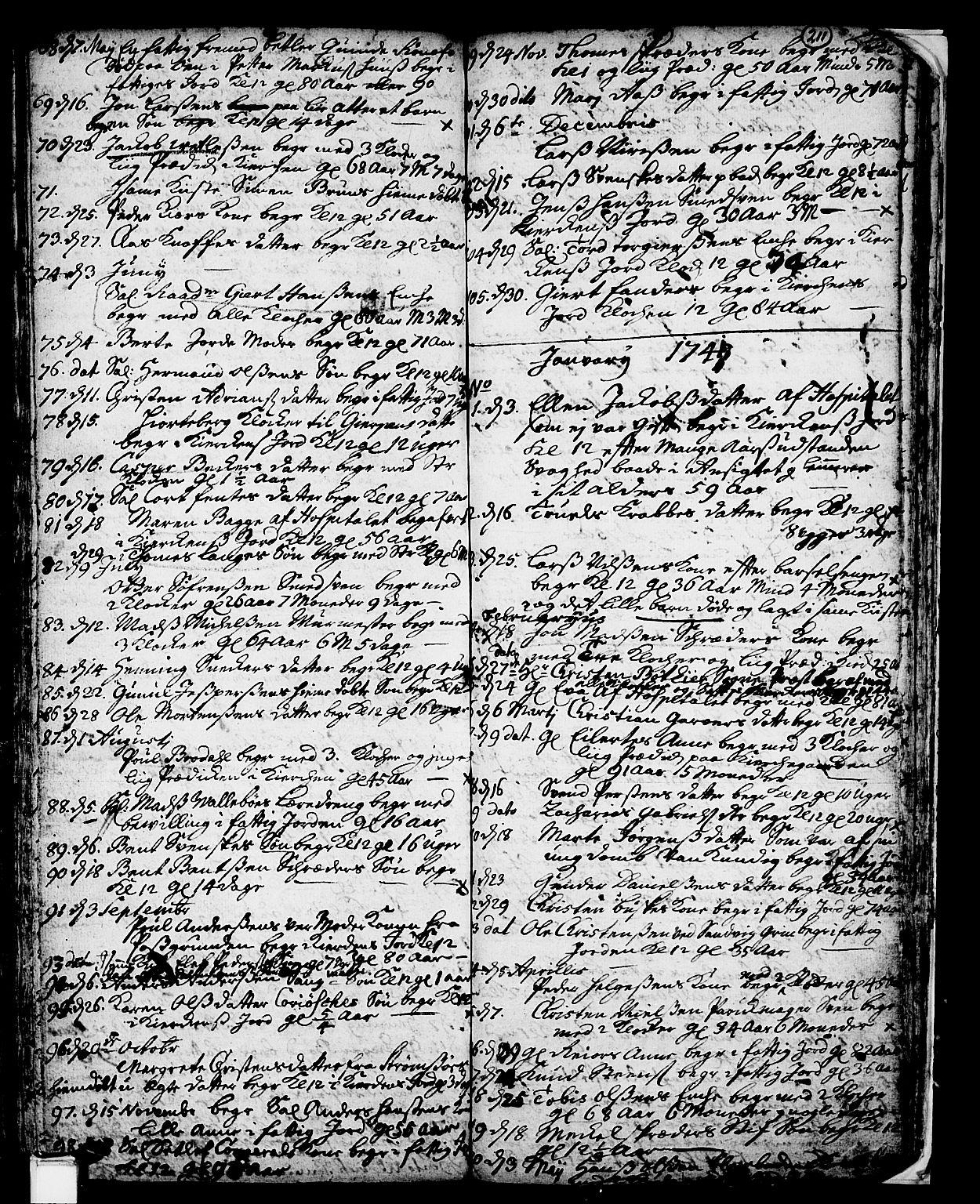 SAKO, Skien kirkebøker, F/Fa/L0002: Ministerialbok nr. 2, 1716-1757, s. 211