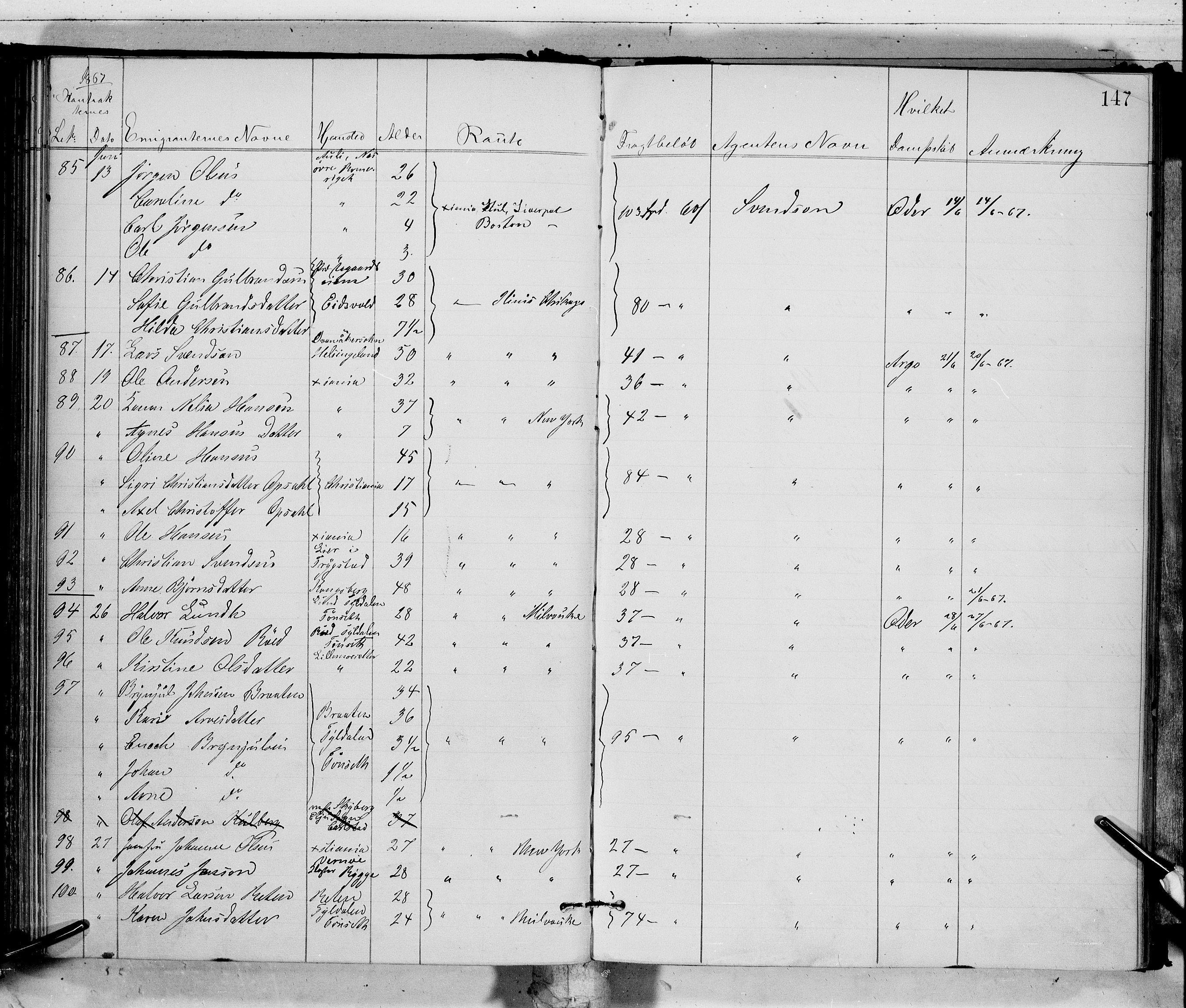 SAO, Oslo politidistrikt, E/Ee/Eef/L0002: Emigrantprotokoll, 1867-1869
