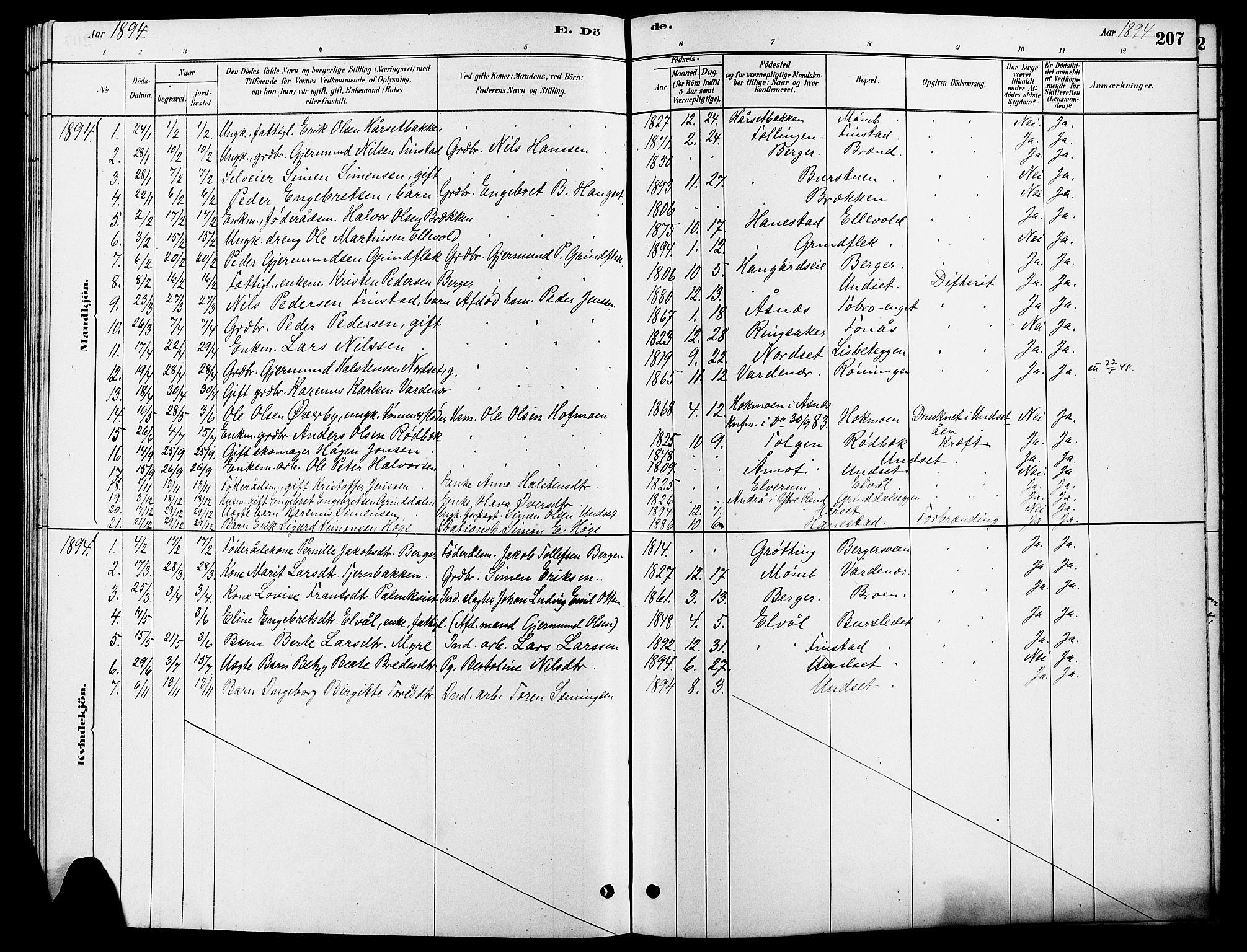 SAH, Rendalen prestekontor, H/Ha/Hab/L0003: Klokkerbok nr. 3, 1879-1904, s. 207