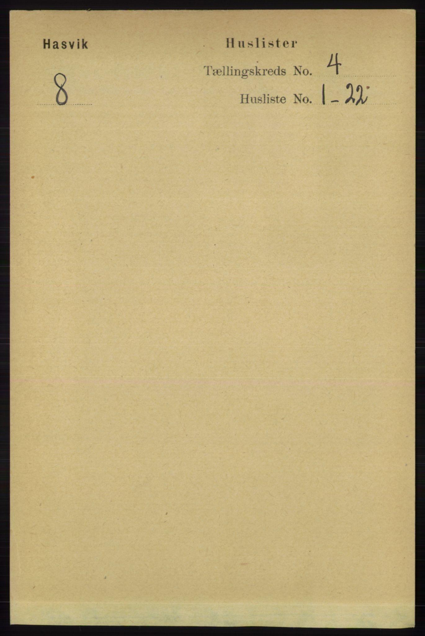 RA, Folketelling 1891 for 2015 Hasvik herred, 1891, s. 465