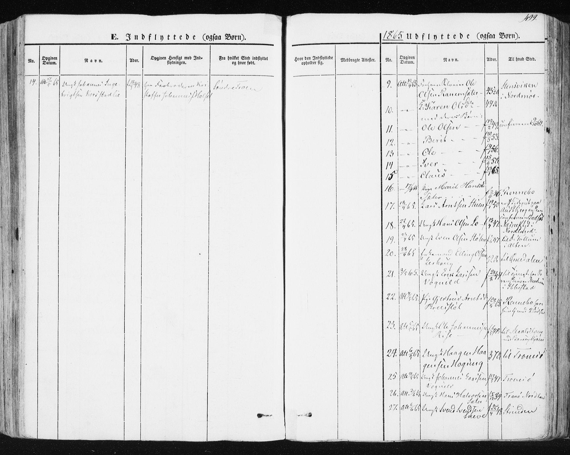 SAT, Ministerialprotokoller, klokkerbøker og fødselsregistre - Sør-Trøndelag, 678/L0899: Ministerialbok nr. 678A08, 1848-1872, s. 499