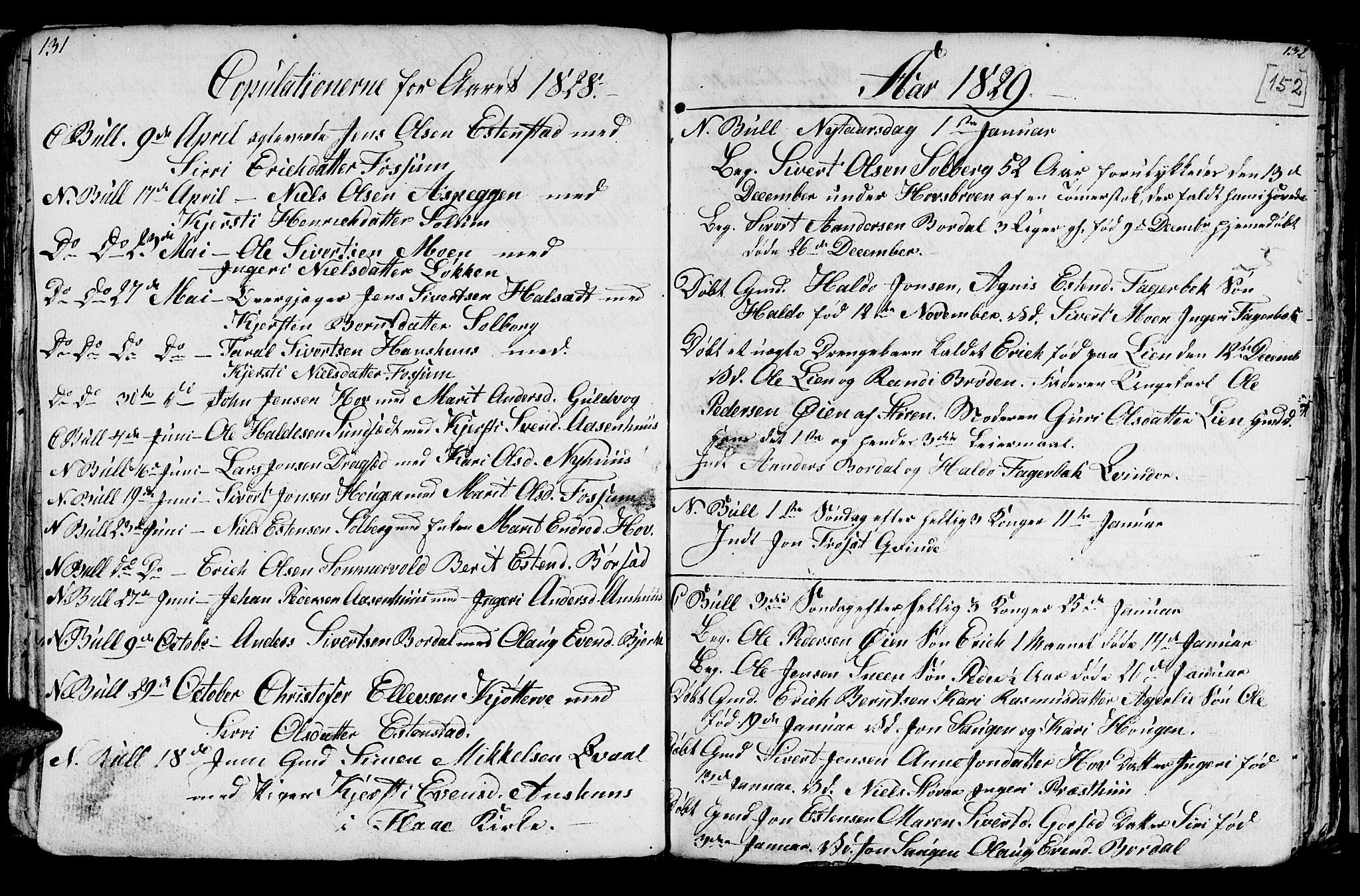SAT, Ministerialprotokoller, klokkerbøker og fødselsregistre - Sør-Trøndelag, 689/L1042: Klokkerbok nr. 689C01, 1812-1841, s. 151-152