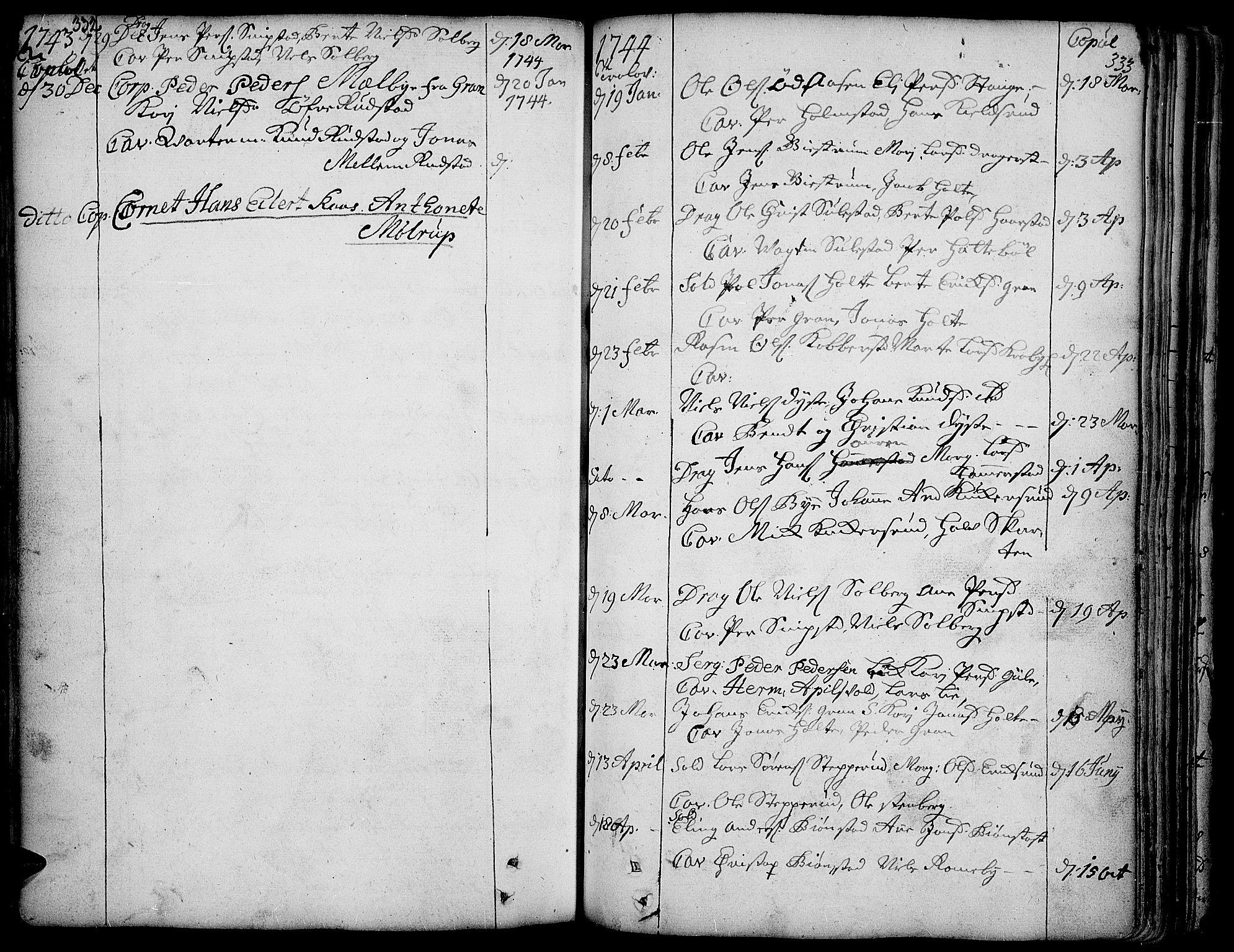 SAH, Toten prestekontor, Ministerialbok nr. 3, 1734-1751, s. 332-333