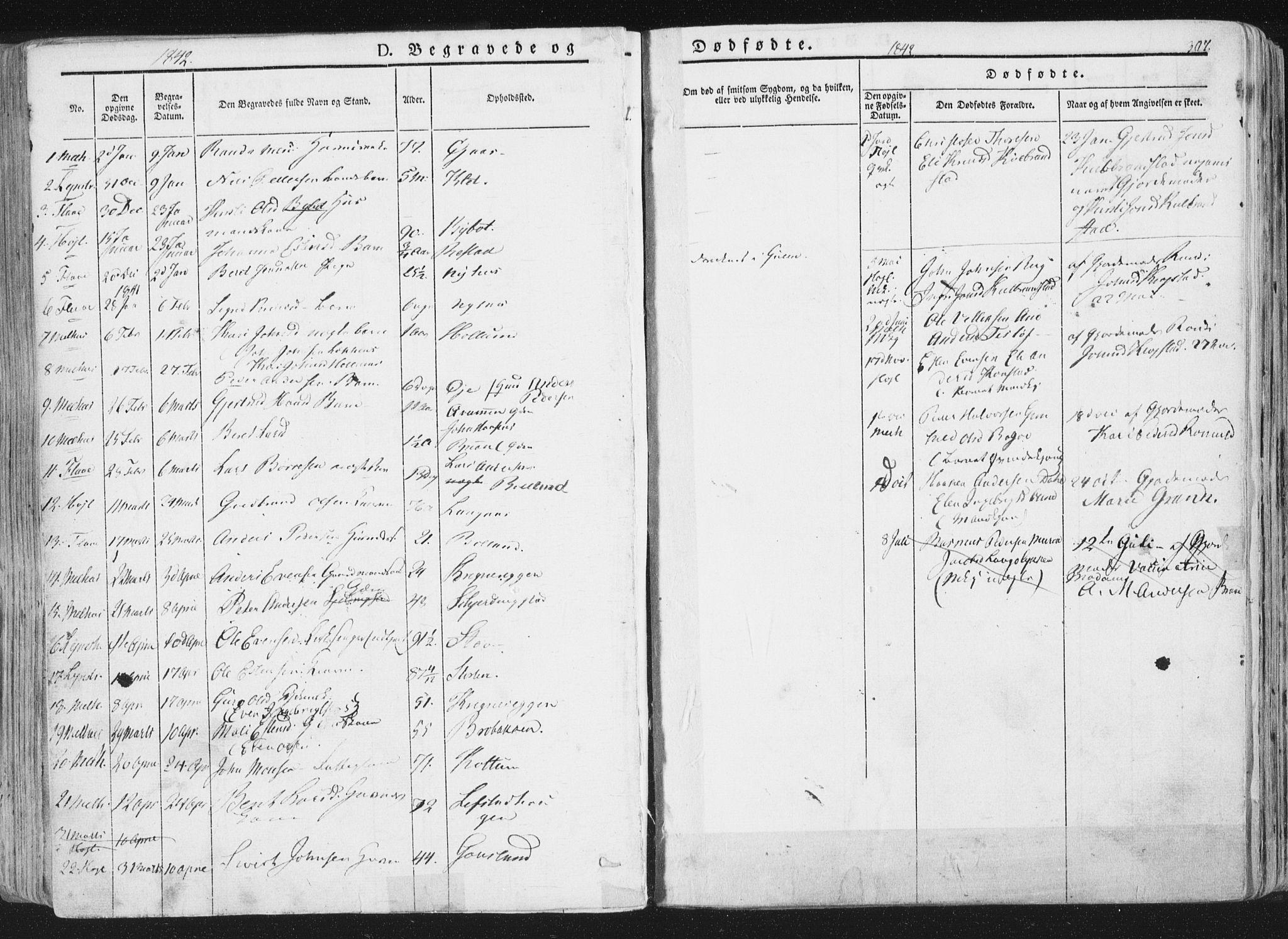 SAT, Ministerialprotokoller, klokkerbøker og fødselsregistre - Sør-Trøndelag, 691/L1074: Ministerialbok nr. 691A06, 1842-1852, s. 307