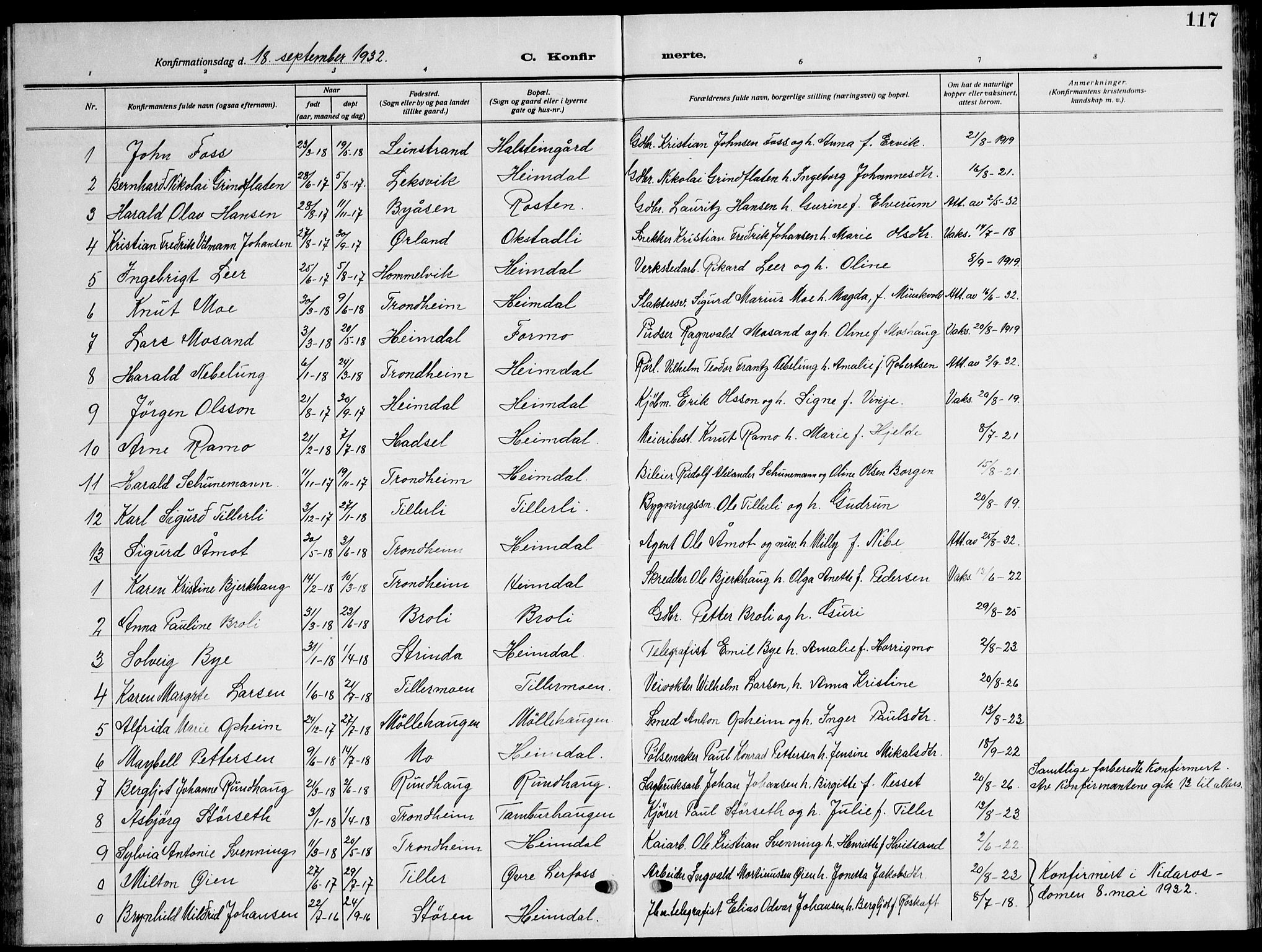 SAT, Ministerialprotokoller, klokkerbøker og fødselsregistre - Sør-Trøndelag, 621/L0462: Klokkerbok nr. 621C05, 1915-1945, s. 117