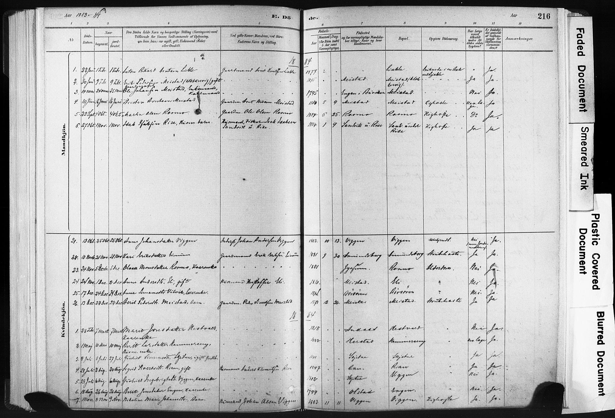 SAT, Ministerialprotokoller, klokkerbøker og fødselsregistre - Sør-Trøndelag, 665/L0773: Ministerialbok nr. 665A08, 1879-1905, s. 216