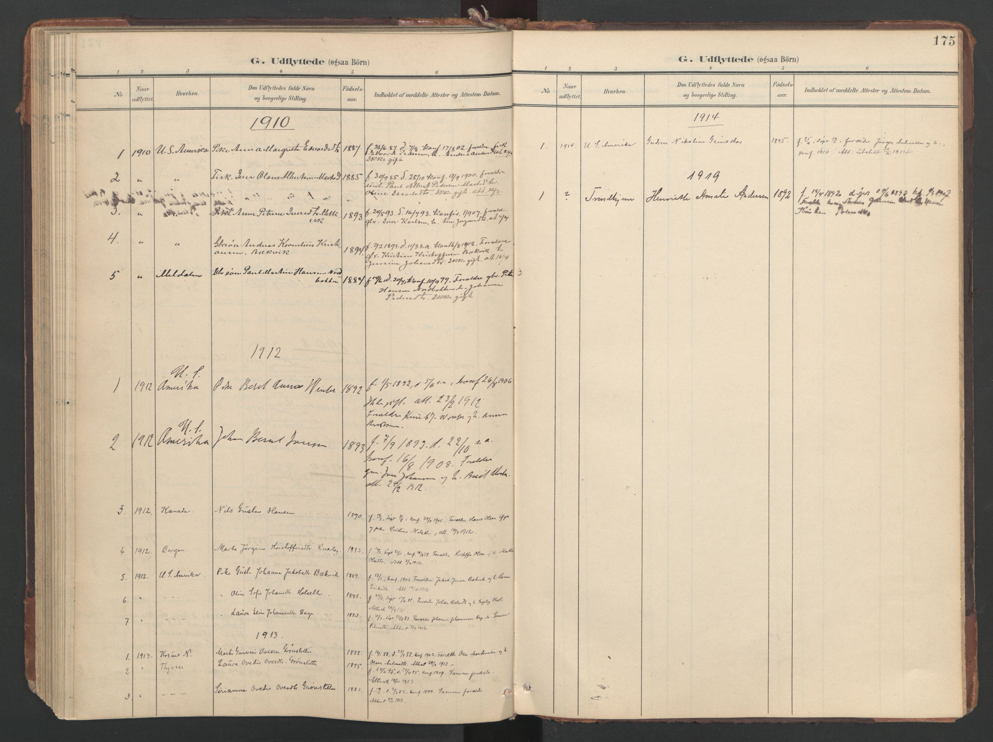 SAT, Ministerialprotokoller, klokkerbøker og fødselsregistre - Sør-Trøndelag, 638/L0568: Ministerialbok nr. 638A01, 1901-1916, s. 175