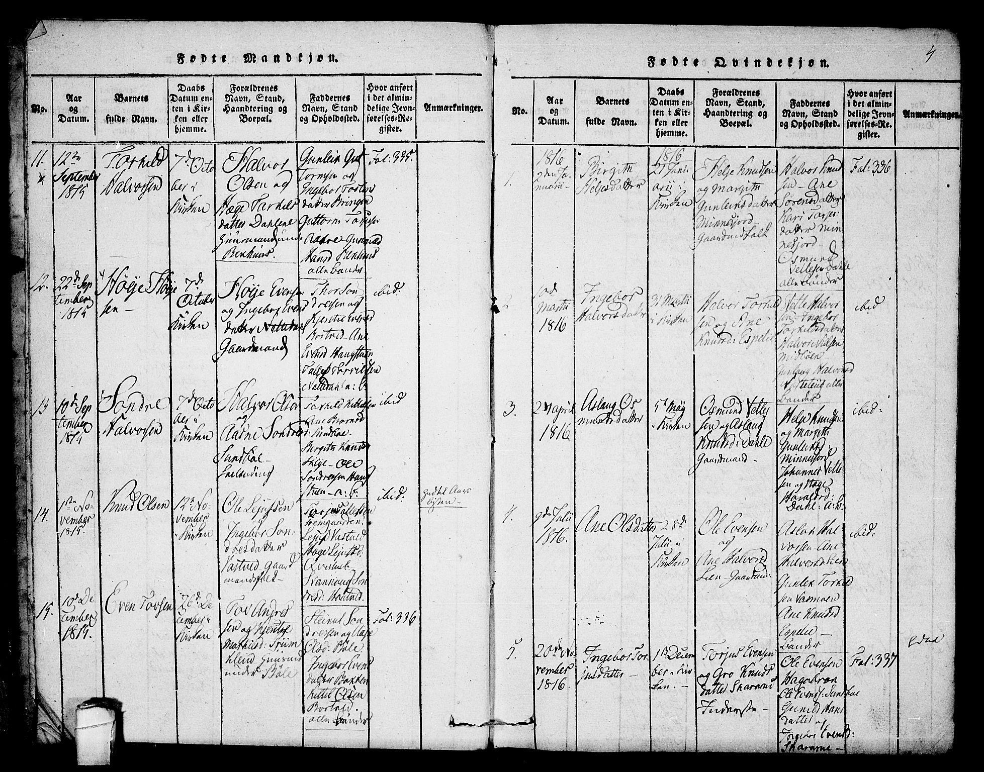 SAKO, Seljord kirkebøker, F/Fb/L0001: Ministerialbok nr. II 1, 1815-1831, s. 4
