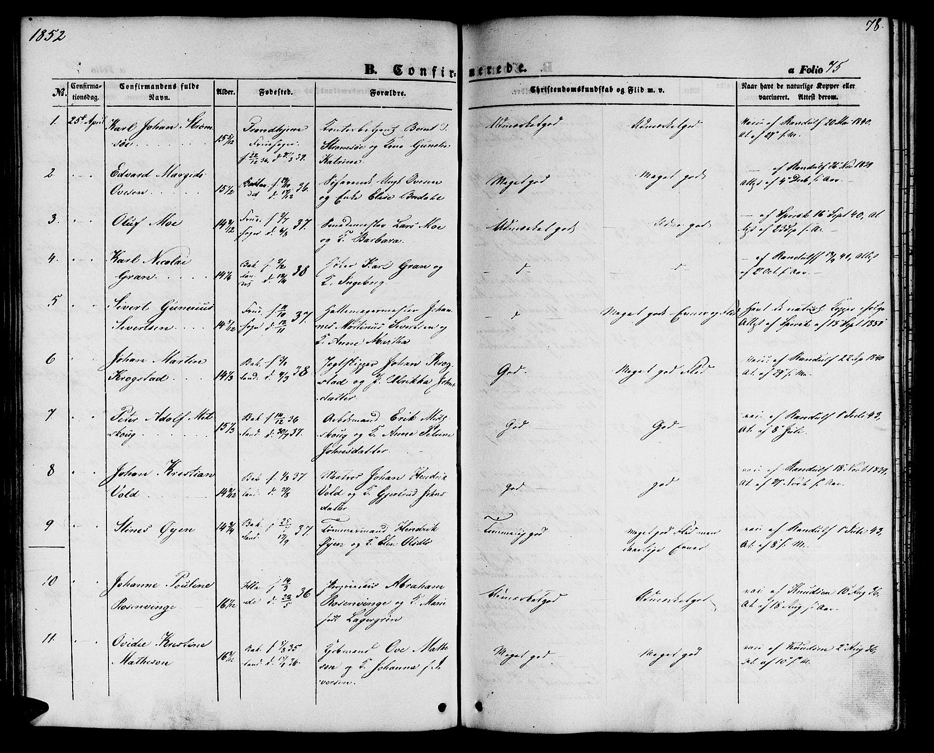 SAT, Ministerialprotokoller, klokkerbøker og fødselsregistre - Sør-Trøndelag, 604/L0184: Ministerialbok nr. 604A05, 1851-1860, s. 78