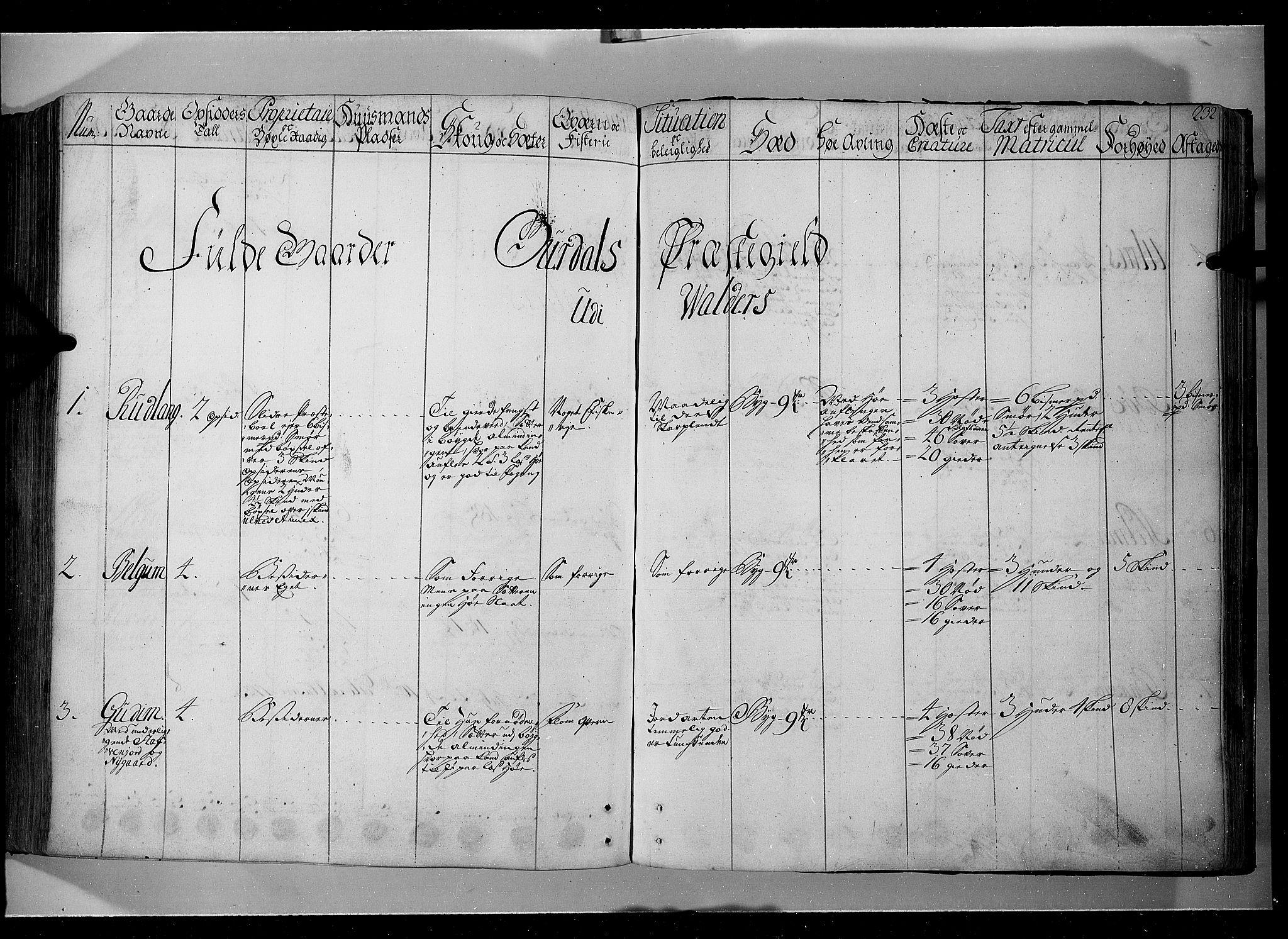 RA, Rentekammeret inntil 1814, Realistisk ordnet avdeling, N/Nb/Nbf/L0104: Hadeland, Toten og Valdres eksaminasjonsprotokoll, 1723, s. 231b-232a
